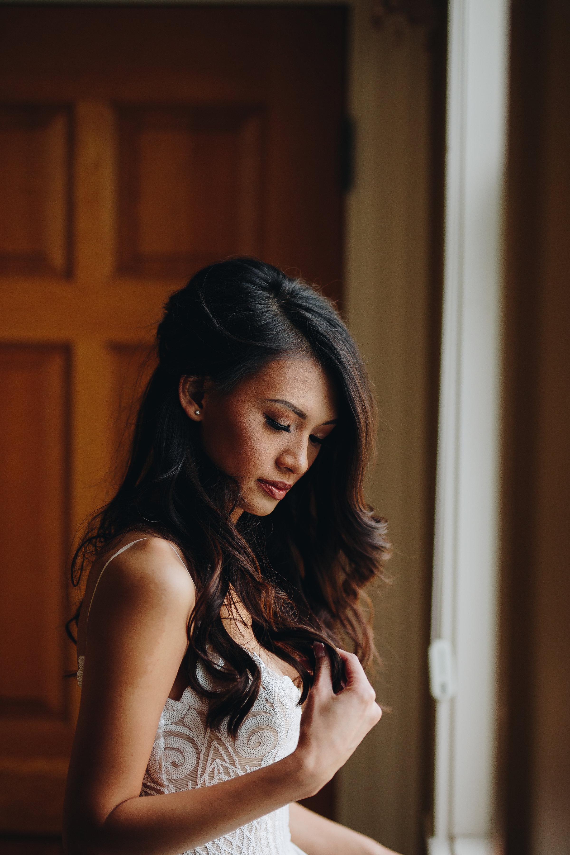 Beautiful asian bride portrait fine art wedding photographer in Colorado Hayley Paige dress