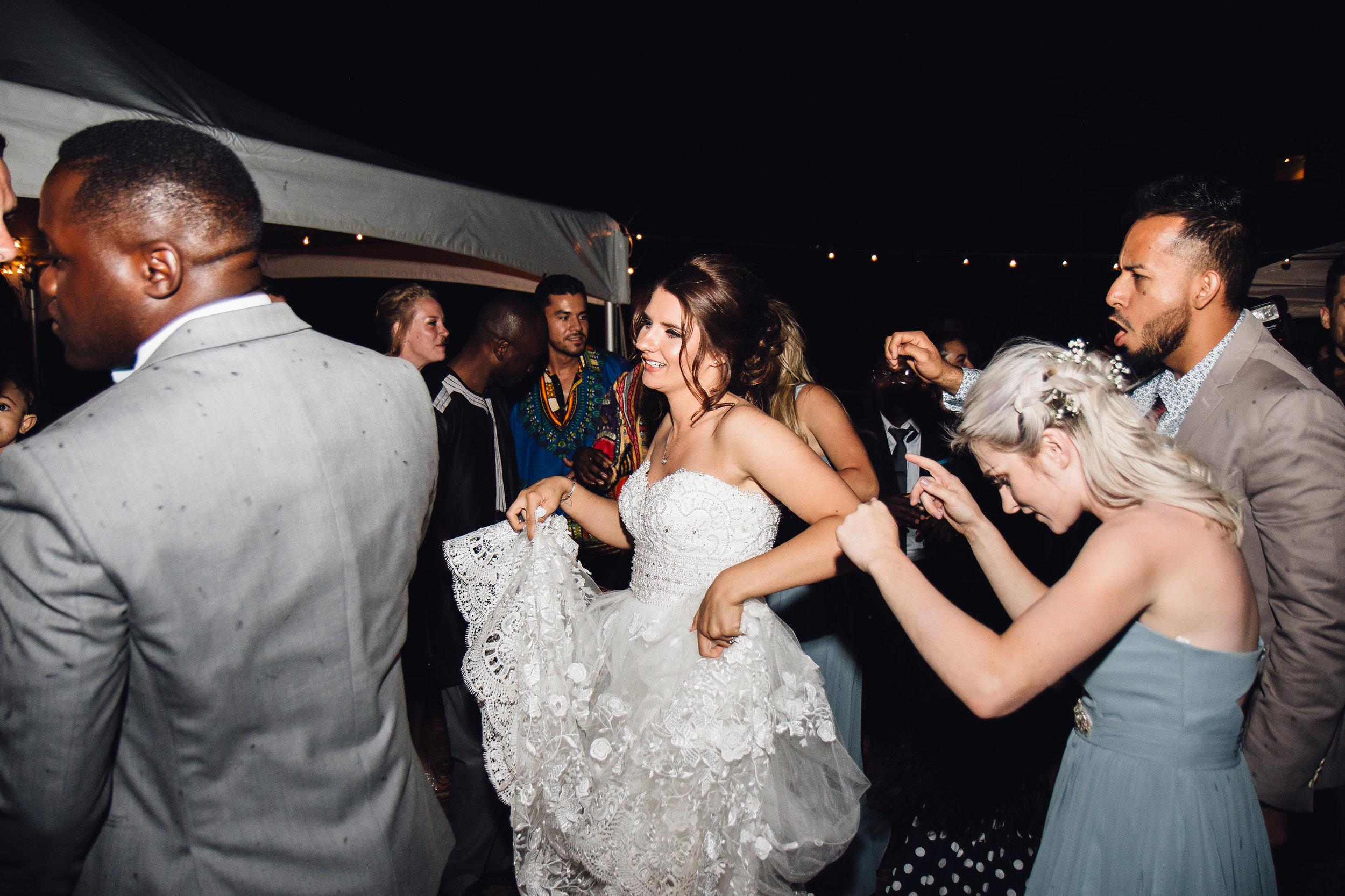 Bi-racial wedding reception in Colorado