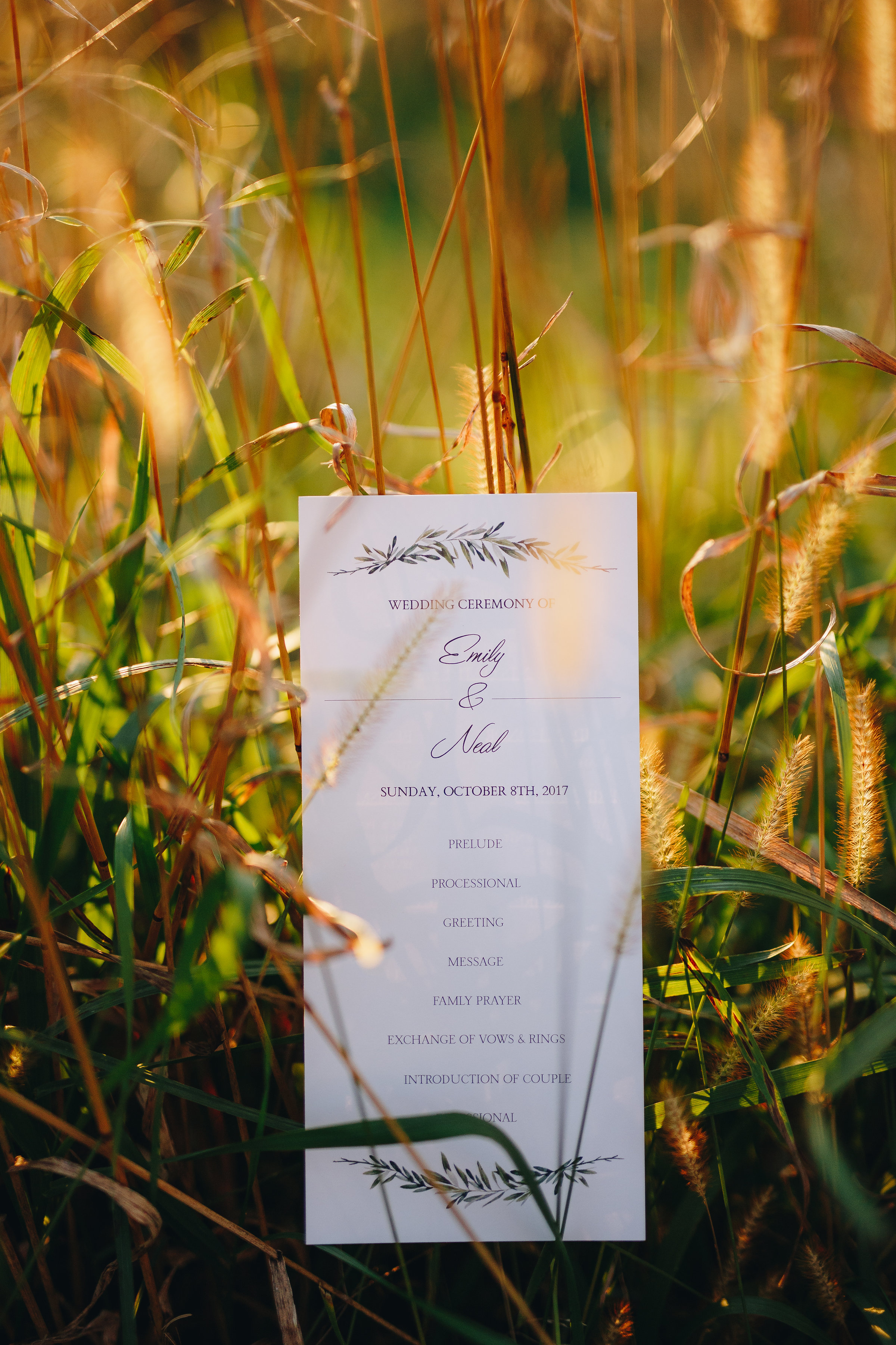 Modern Minneapolis outdoor wedding at Almquist Farm itinerary stationary