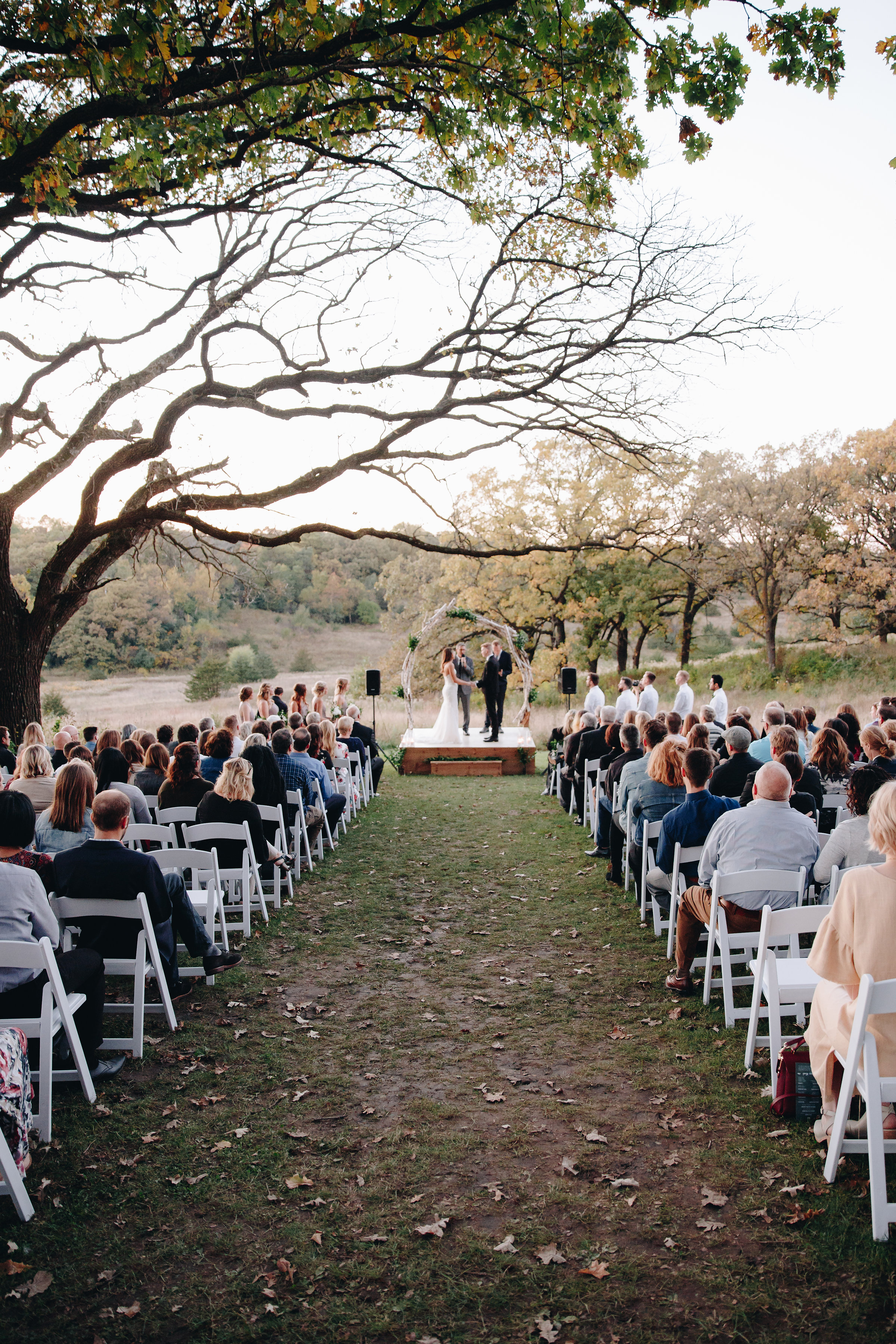 Beautiful outdoor ceremony after sunset in Minnesota