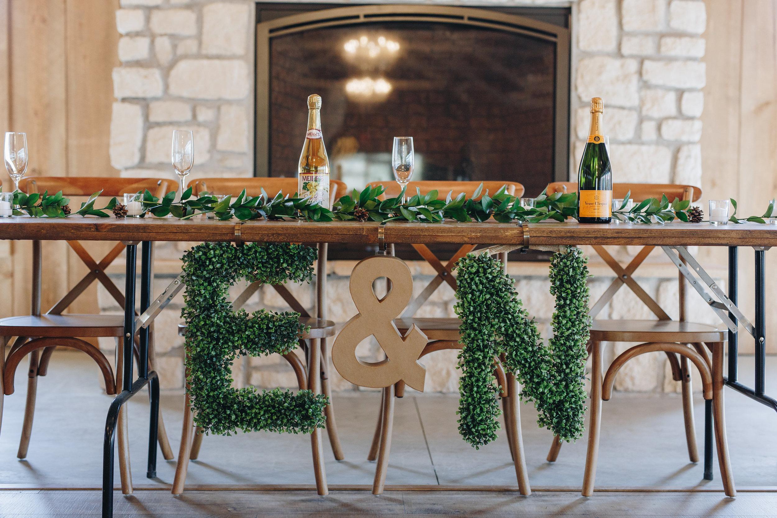 Wedding head table at Almquist Farm near Minneapolis Minnesota