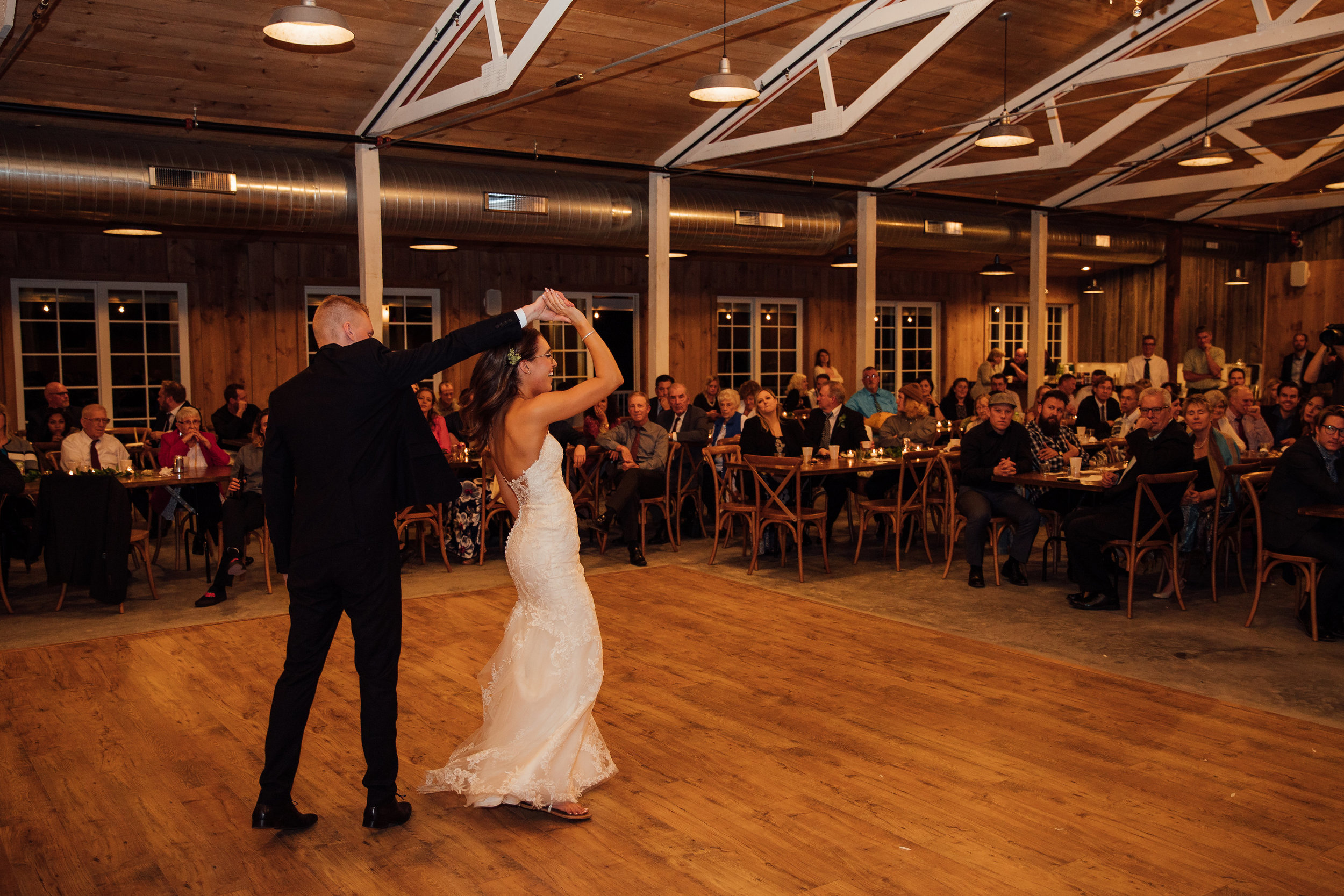 Bride and groom share their first dance at their wedding reception in Minnesota