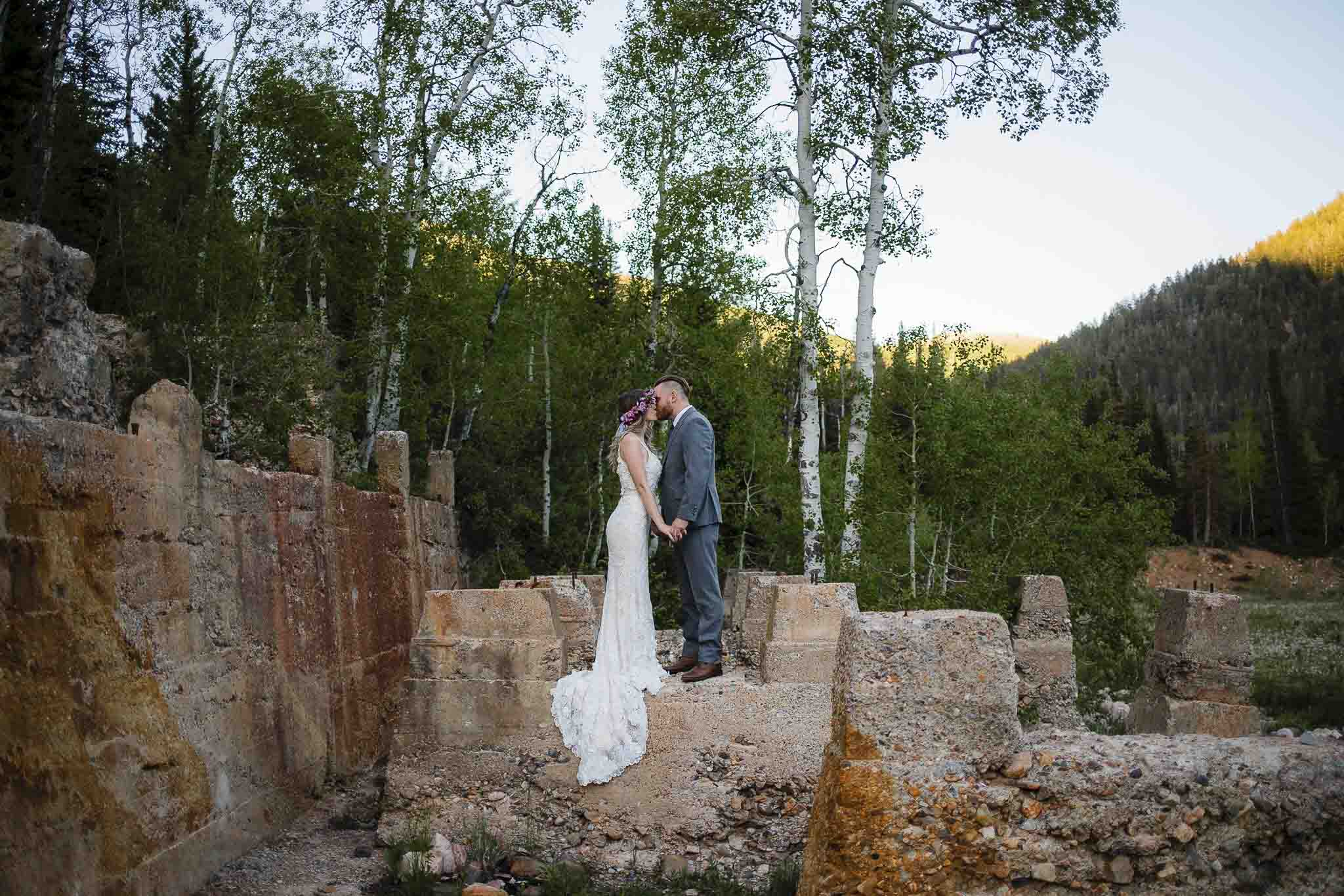 Couple pose for wedding pictures at Forest City, Utah