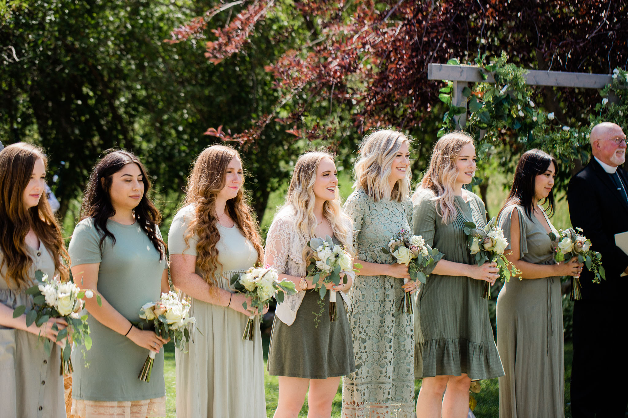 Bridesmaids during wedding ceremony at cabin in Utah Mountains