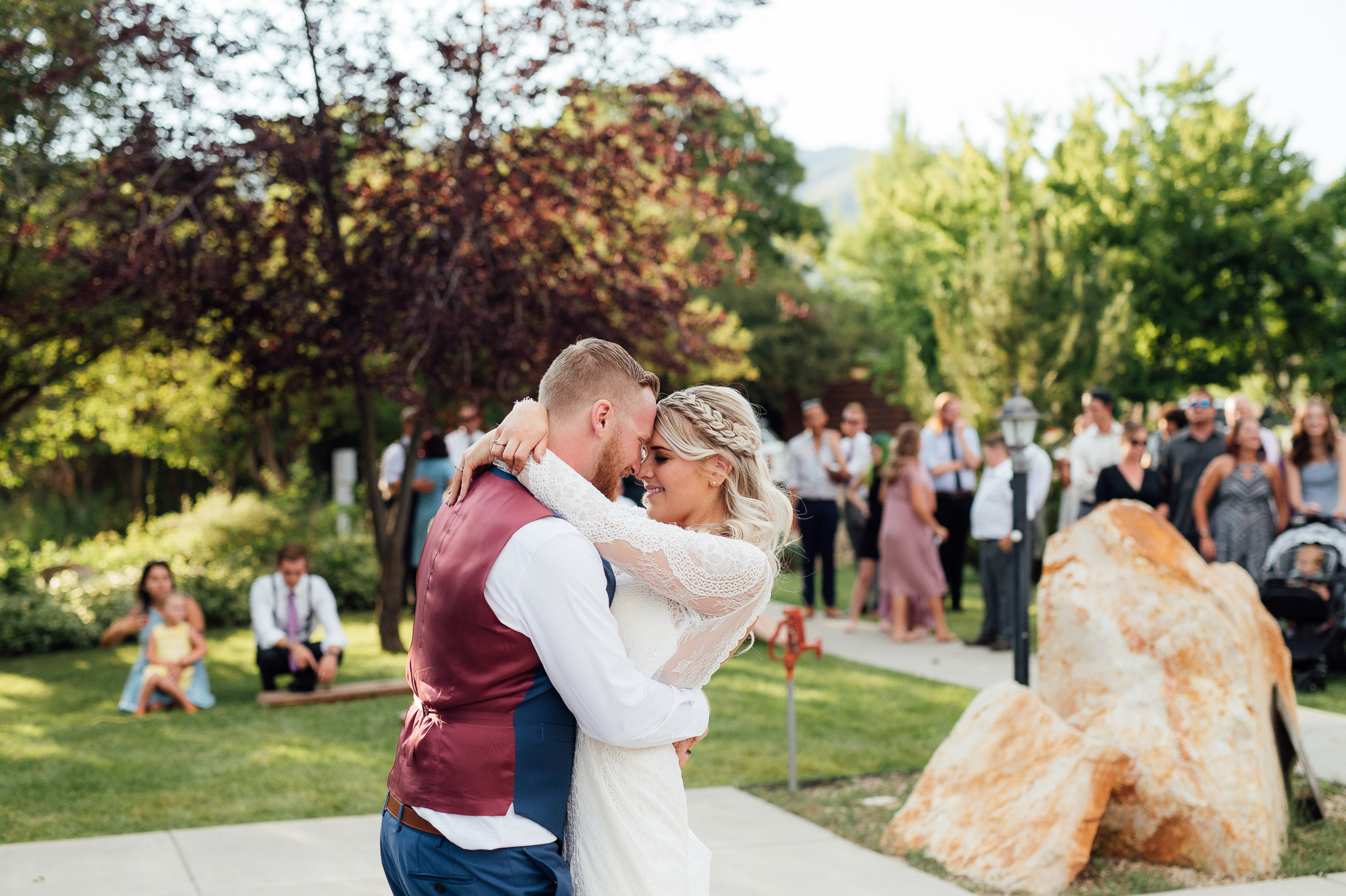 Bride and groom dance during wedding reception