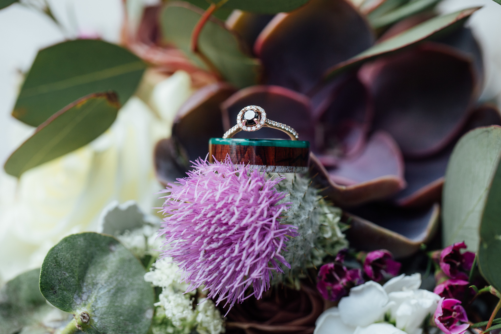 Wedding rings with Scottish Thistle