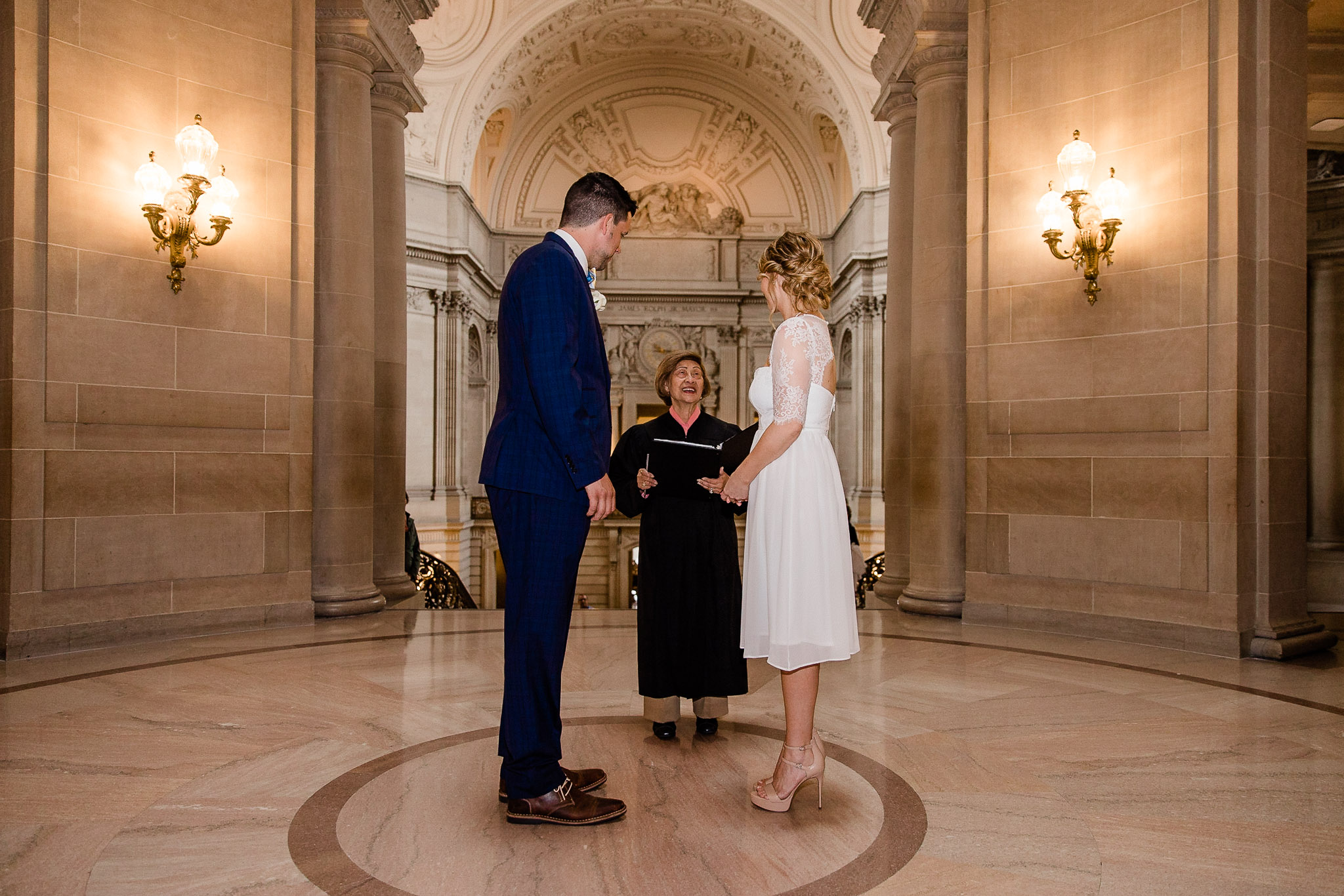 Bride and Groom during wedding ceremony at San Francisco City Hall