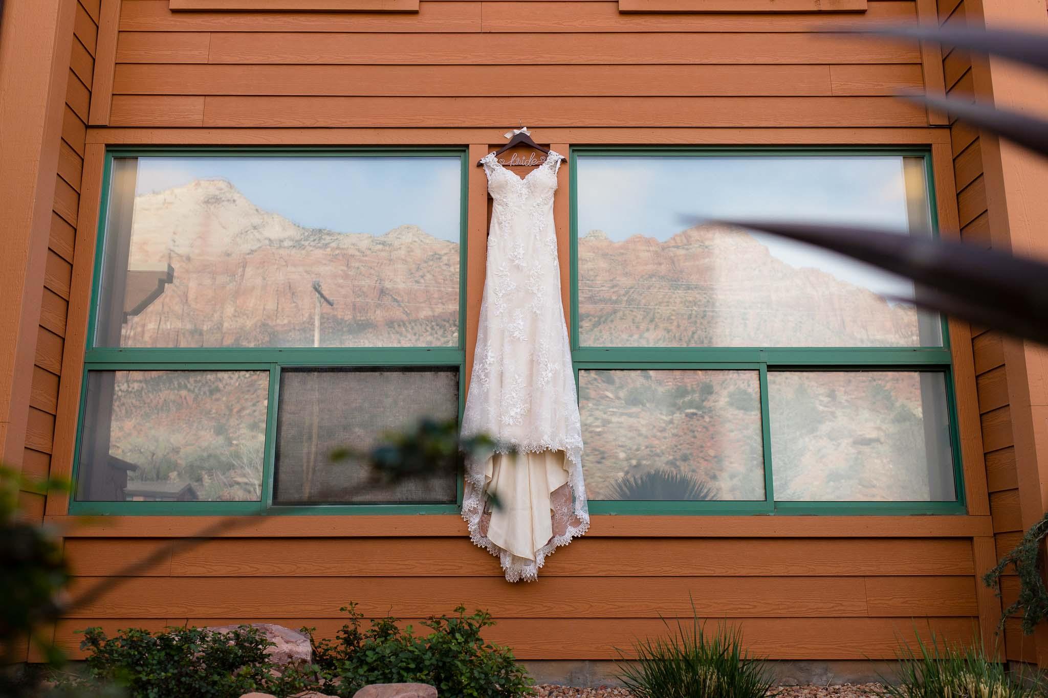Hanging Dress Detail Adventure Wedding in Zion National Park