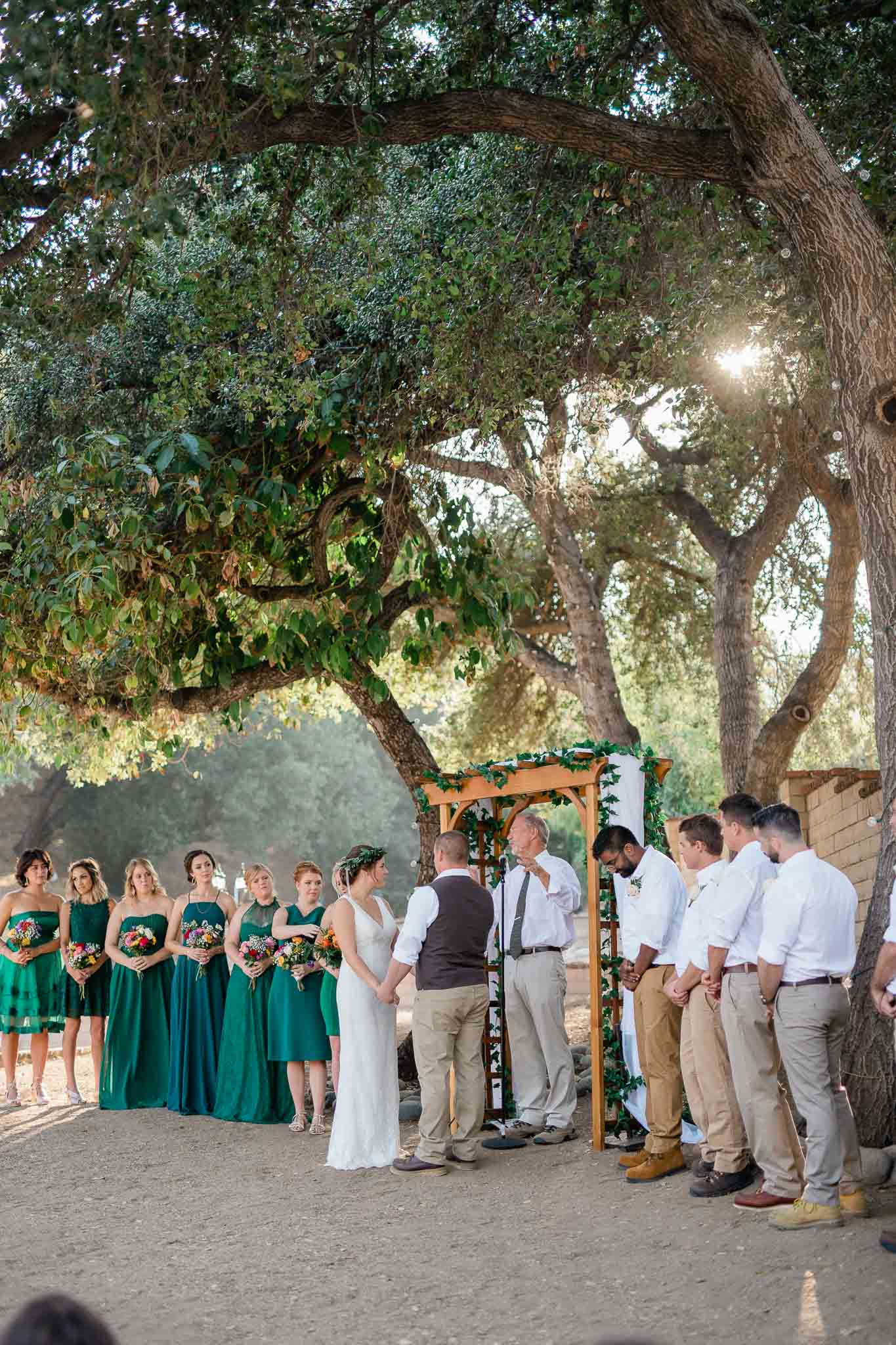 Backyard wedding ceremony in Pasadena, California
