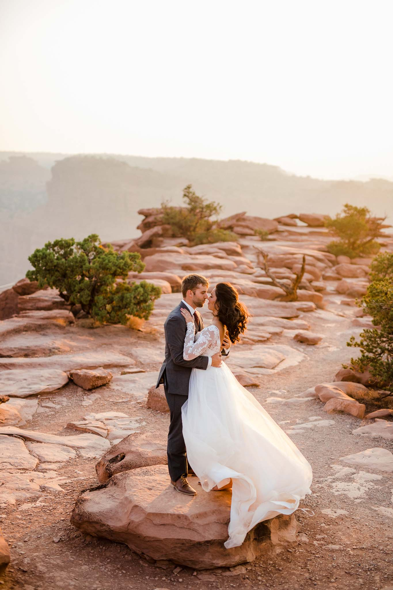 Epic wedding portrait at Capitol Reef National Park in Utah