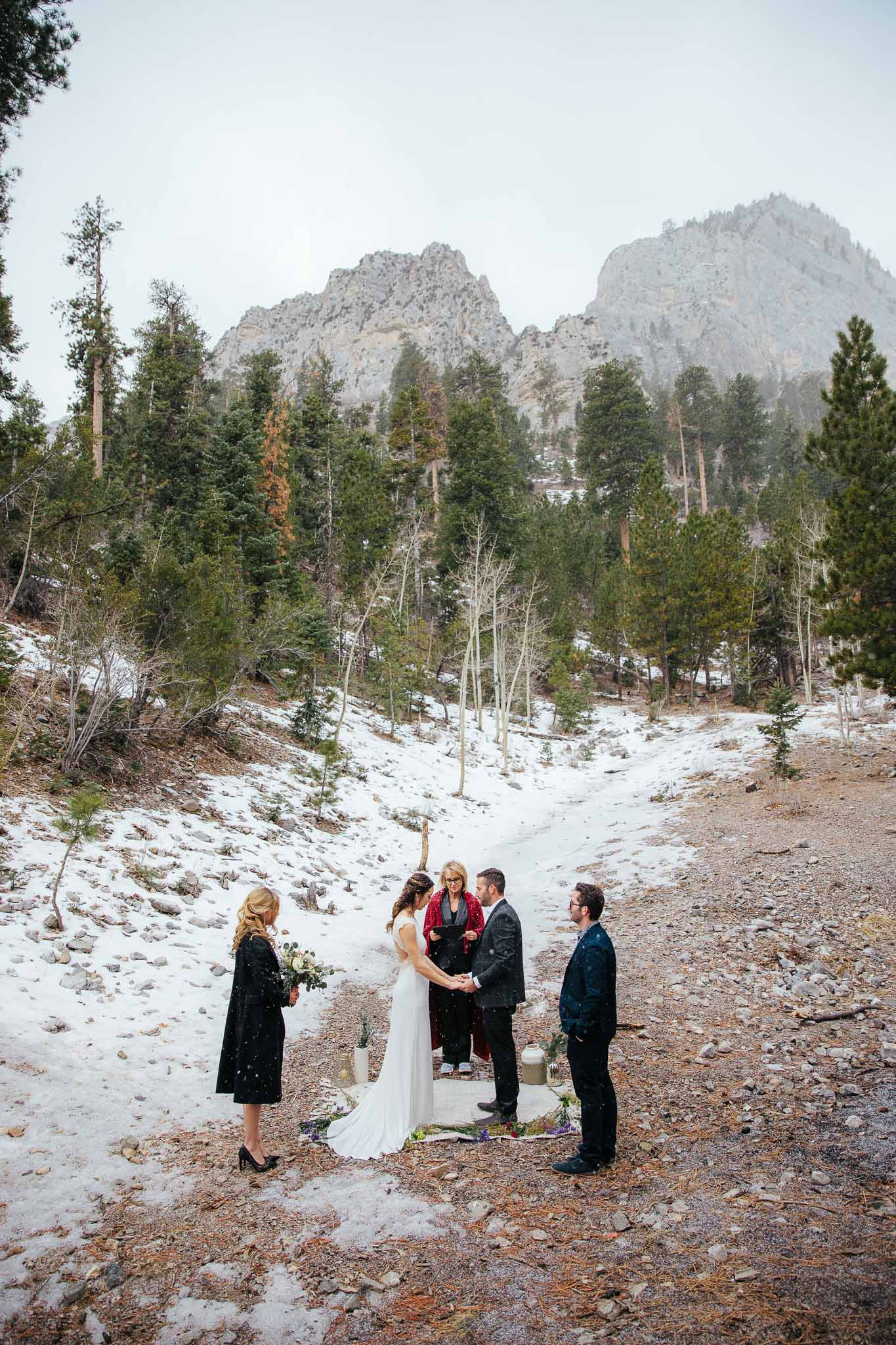 Elopement ceremony with witnesses in Mt. Charleston near Las Vegas Nevada