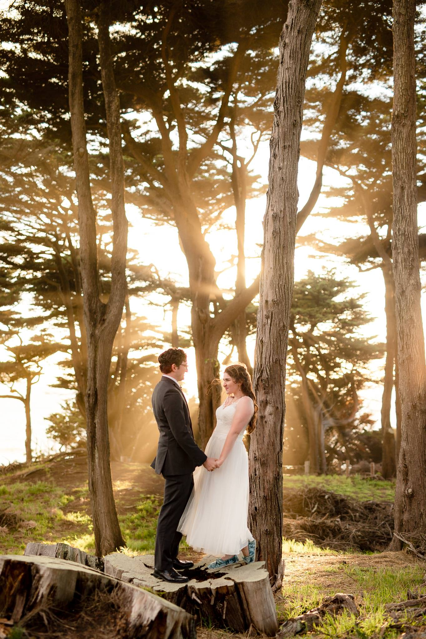 Bride and groom stand in front of sun rays blasting through trees during their San Francisco Elopement