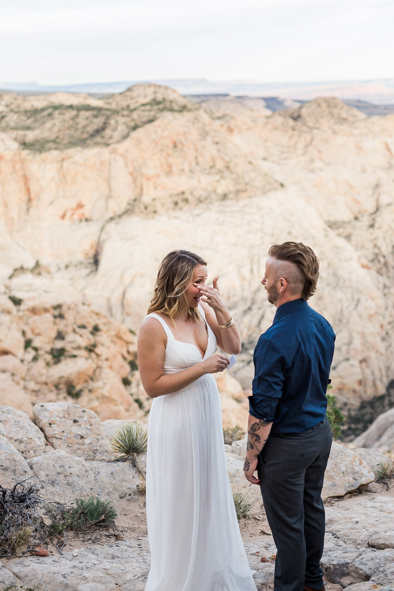 Wife wipes away tear during emotional vow renewal ceremony in Utah