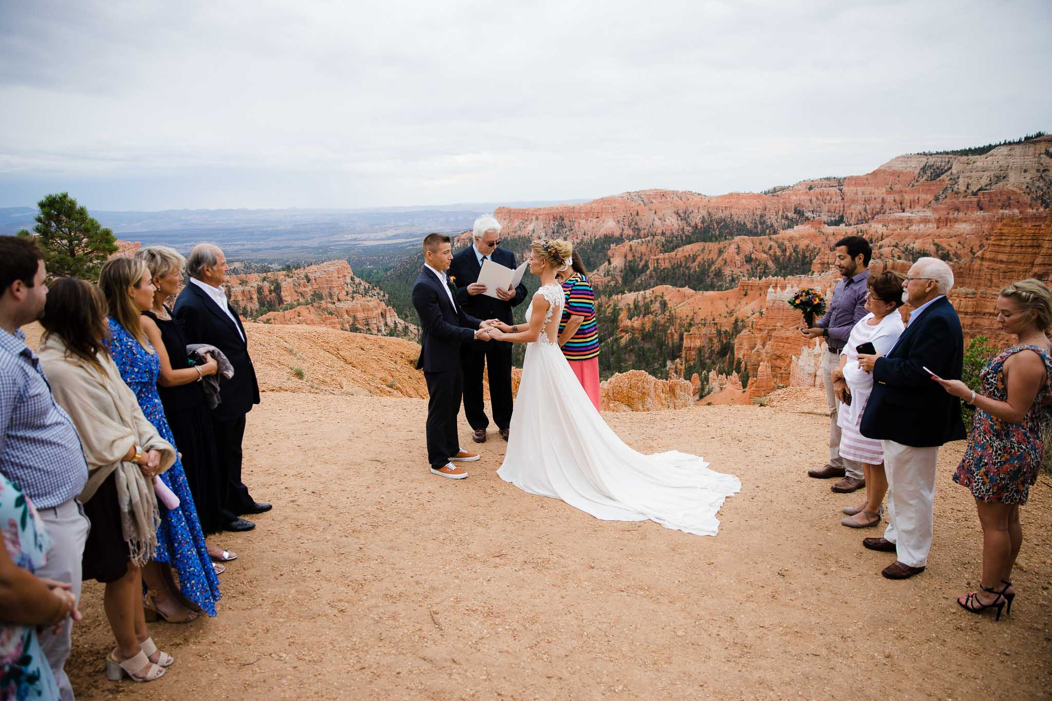 Intimate adventure elopement ceremony overlooking Bryce Canyon National Park in Utah