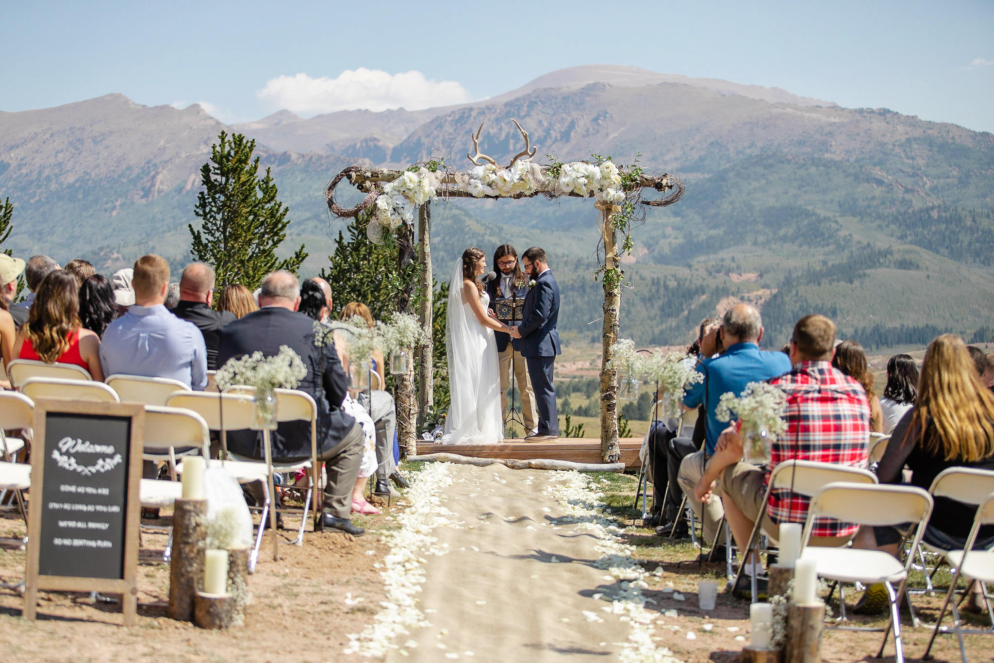 Colorado Mountain ceremony with views of Pikes Peak at the Really Blessed Cabin Wedding Venue