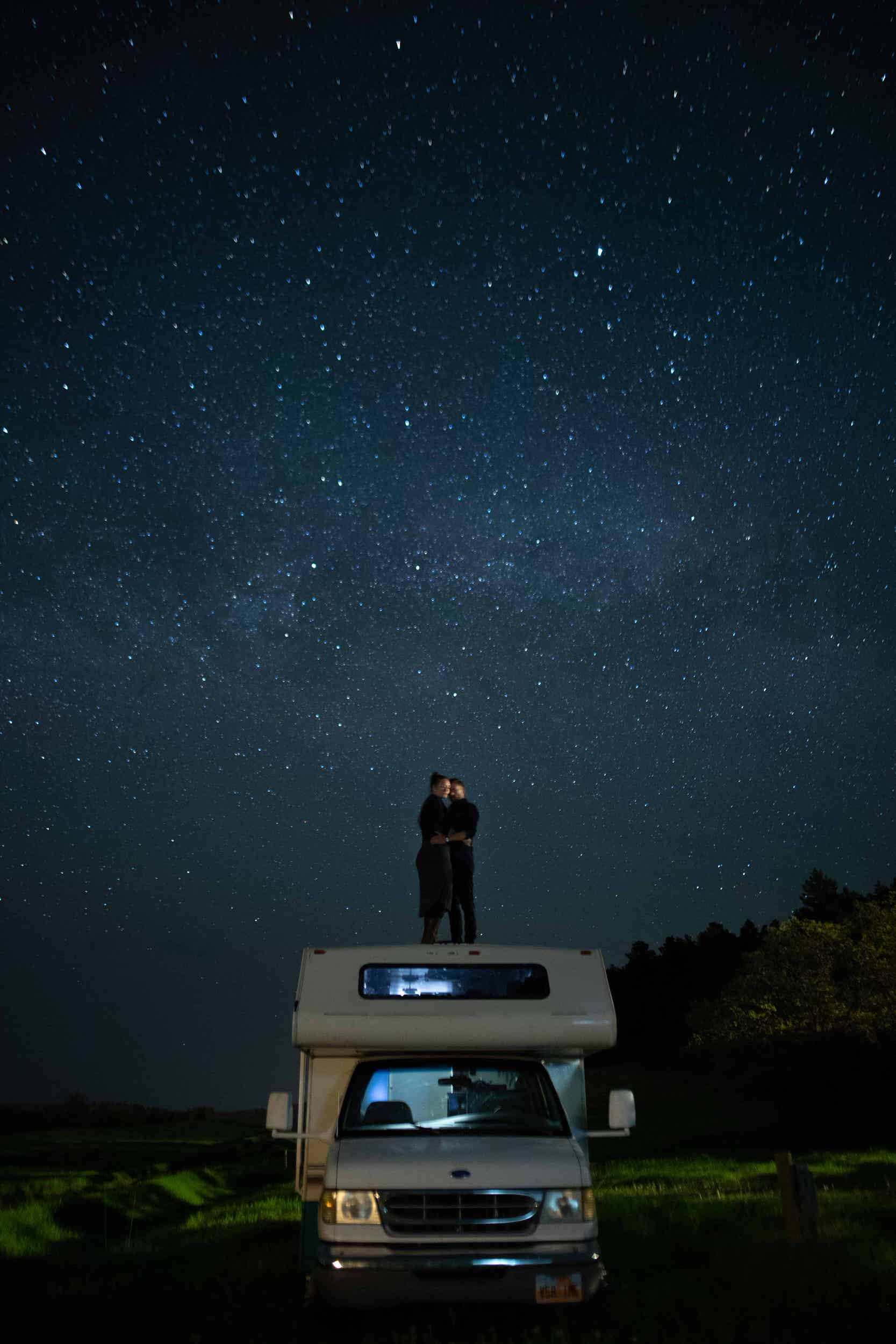 Star photography of Full-time nomadic photographers Kyle and Tori on the RV