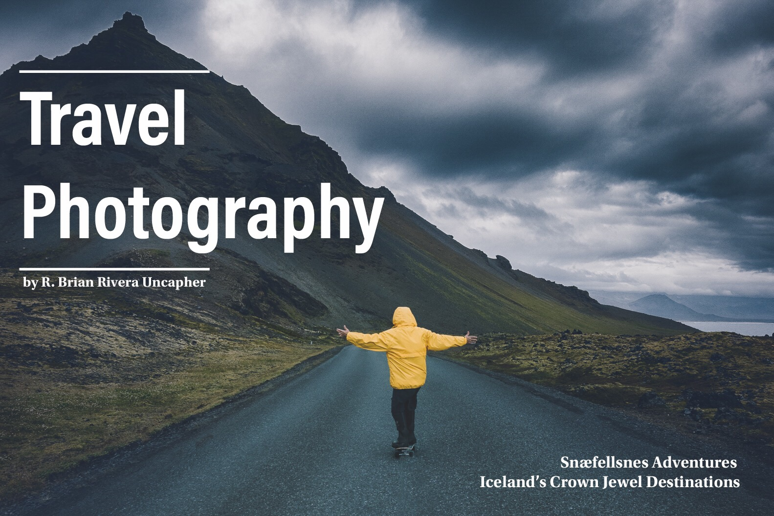 Tip: Contextualize landscapes, e.g., pack a lightweight jacket in a color that can visually compliment a dramatic scene.   Above:     West Iceland landscape. Photo Credit: Brian Rivera Uncapher