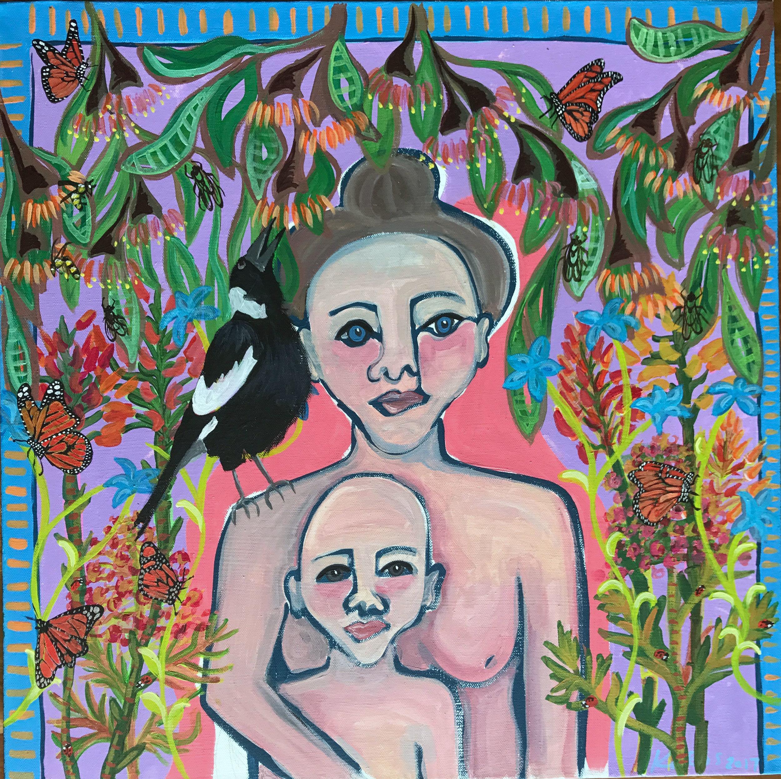 """Motherhood is... Self Portrait with Levi Wolfe', Acrylic on canvas, 2017"