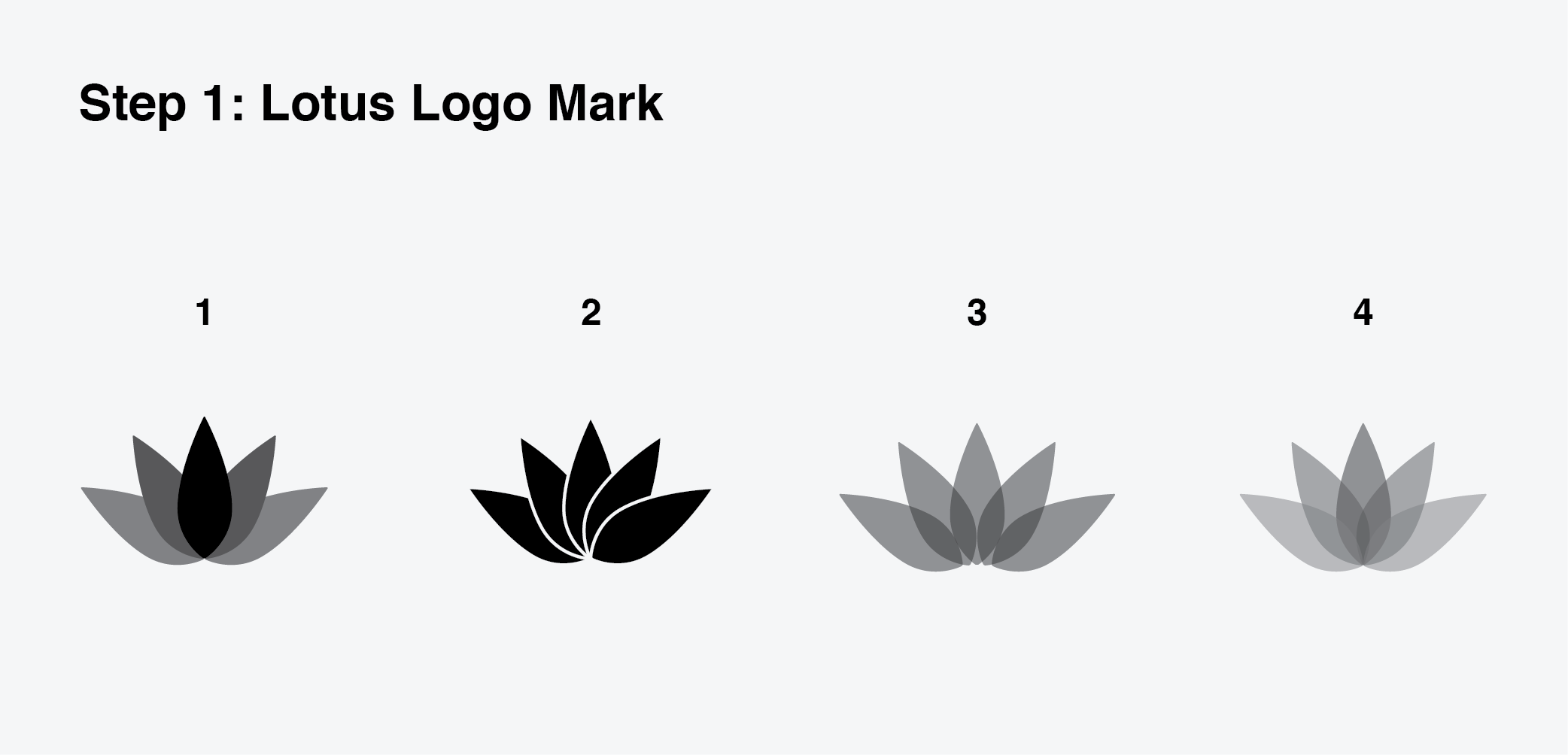 Variations of possible lotus logo marks. Option 4 was selected for its complexity through diversity of shades, created by the overlapping of opaque grey leaf elements.