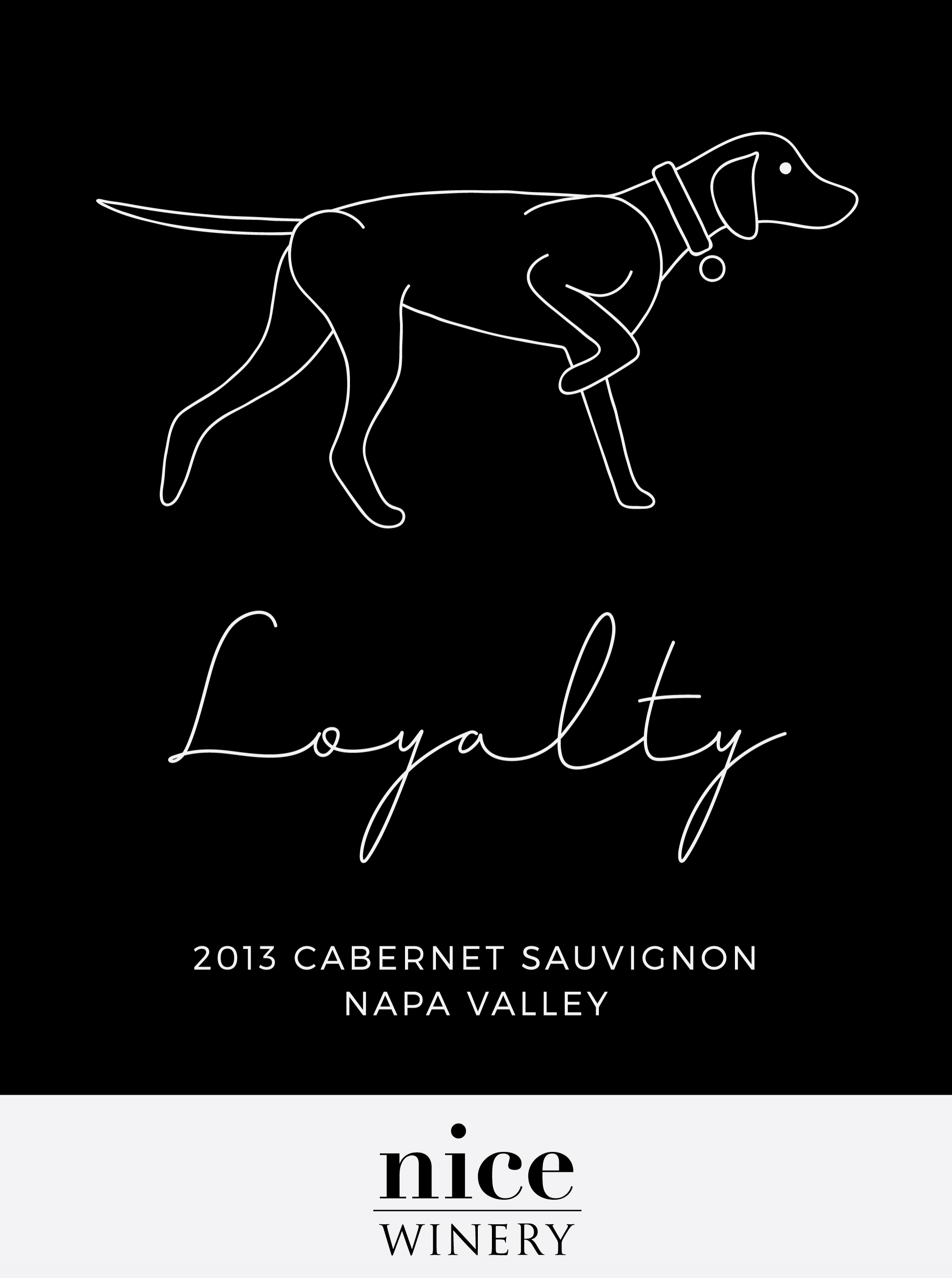 "Label for Nice Winery's limited run 2013 Cabernet Sauvignon, ""Loyalty"""
