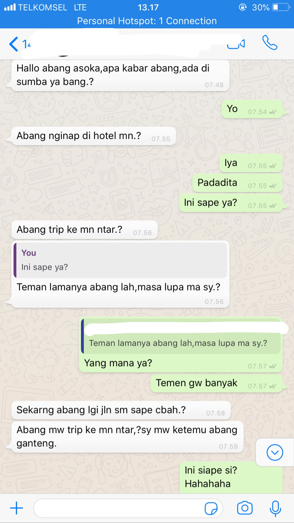 Percakapan pertama