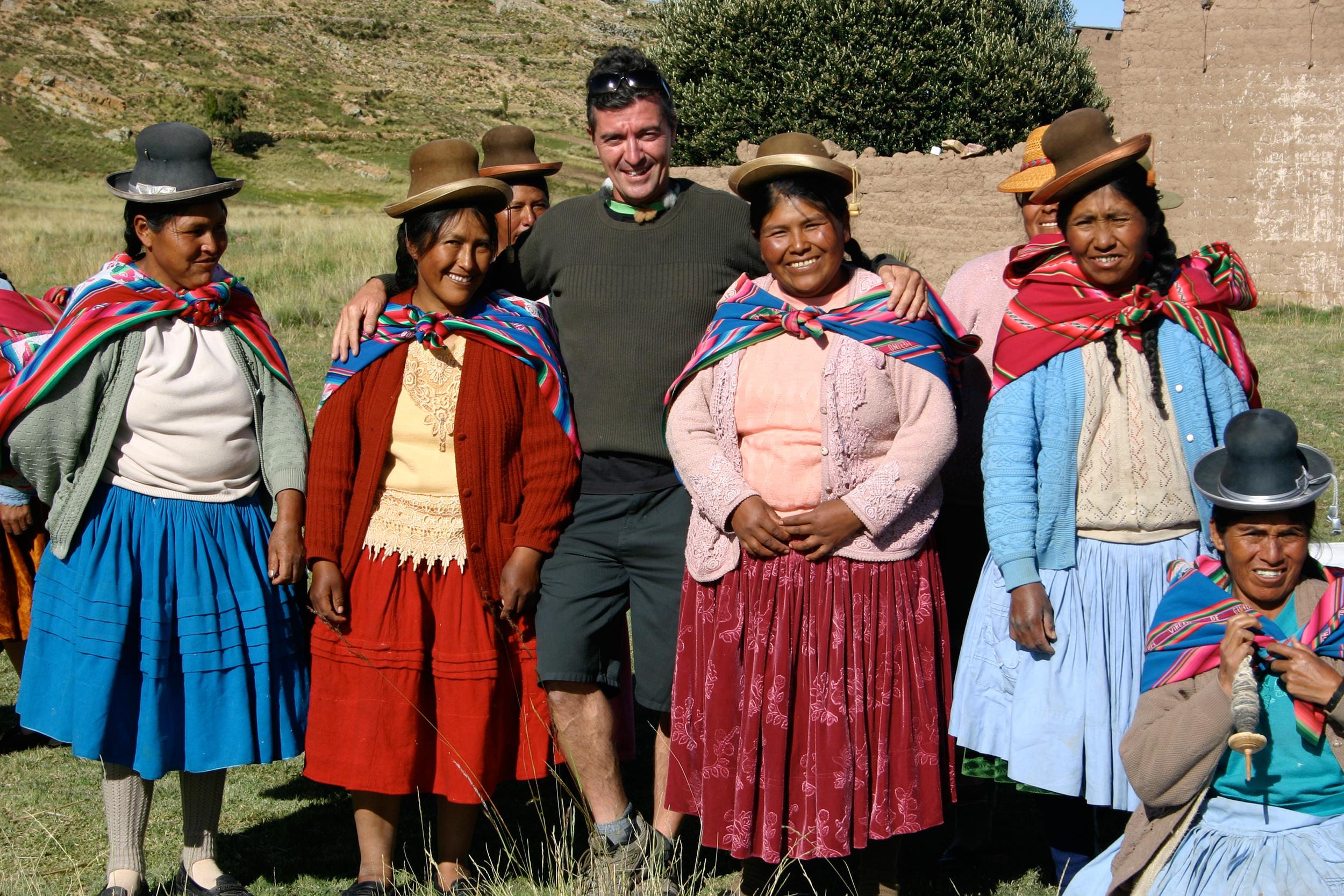 Fair Trade advocate Mark with Quechua artisan spinners & knitters - Juliaca, Peru
