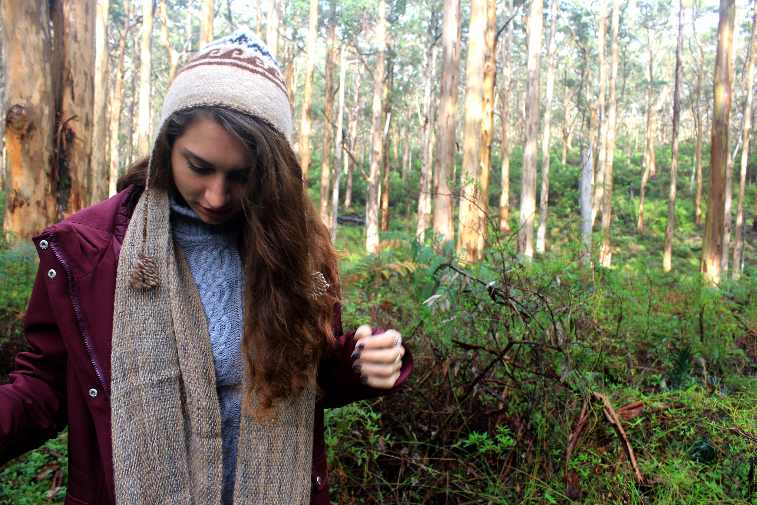 Scarves & Chullos - Alpaca woven scarf and hand-knitted Chulloat Boronyup Forest, Western Australia
