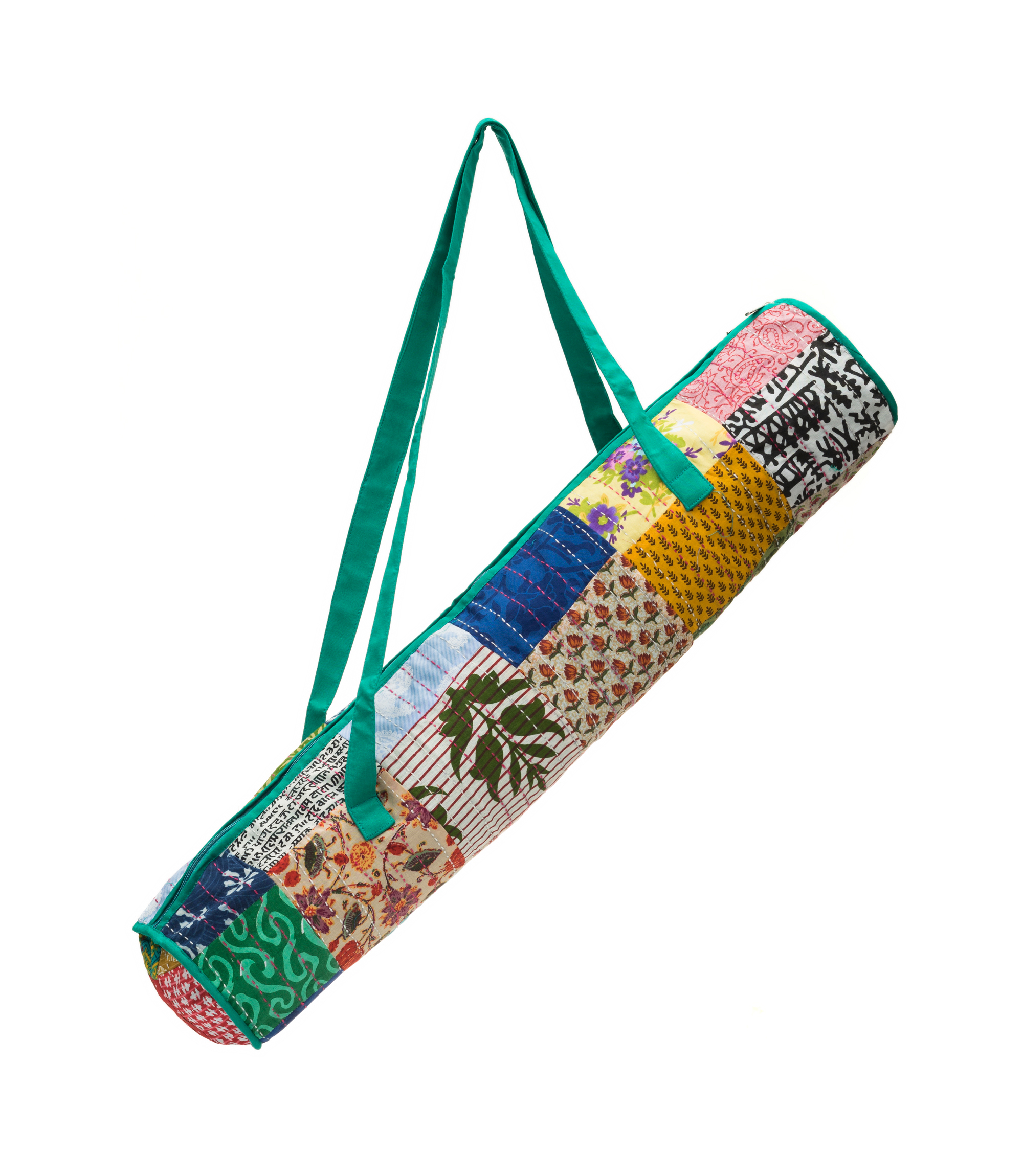 Handcrafted yoga mat bag featuring a beautiful, block printed patchwork with teal accents and colorful kantha stitching.