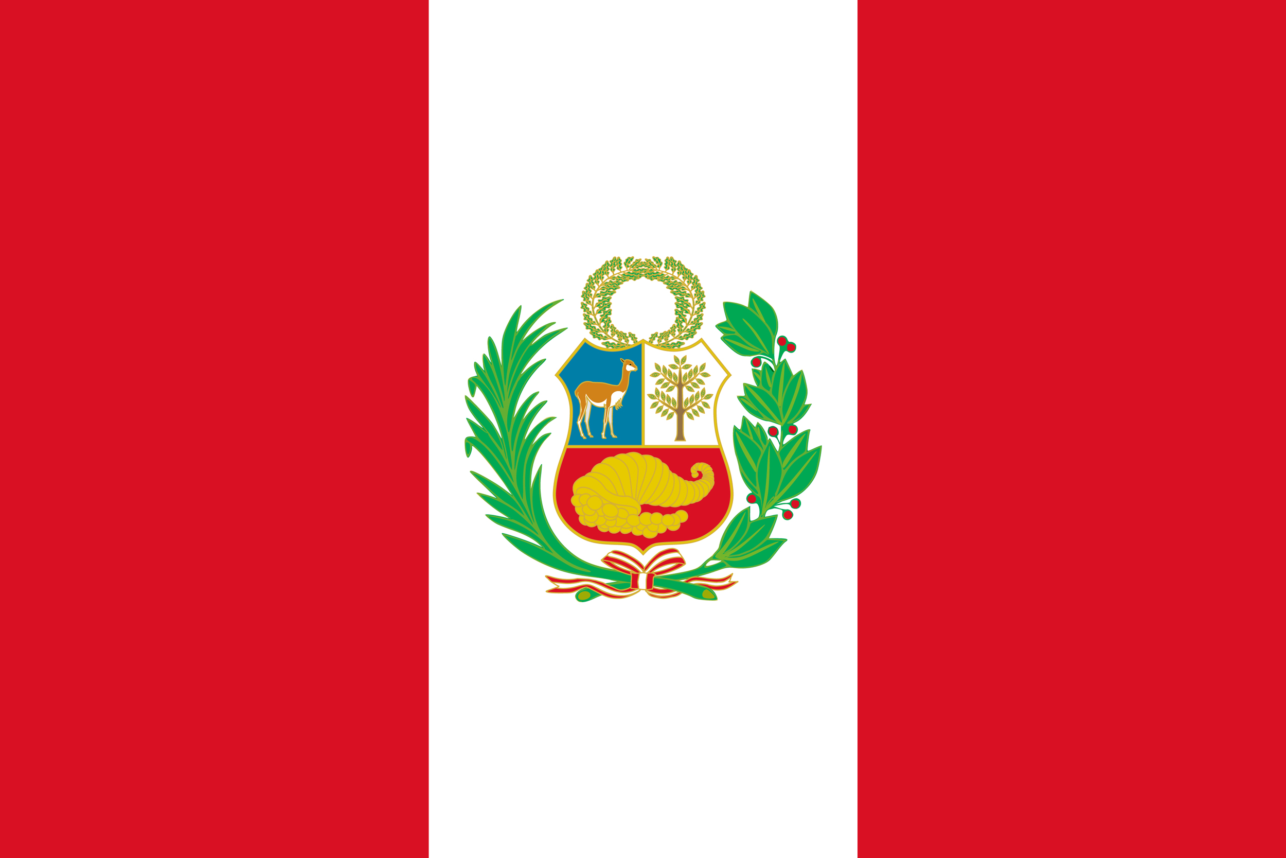 By Republic of Peru - Republica del Perú - National Emblems of Perú - National Flag (State), Public Domain,  https://commons.wikimedia.org/w/index.php?curid=537393