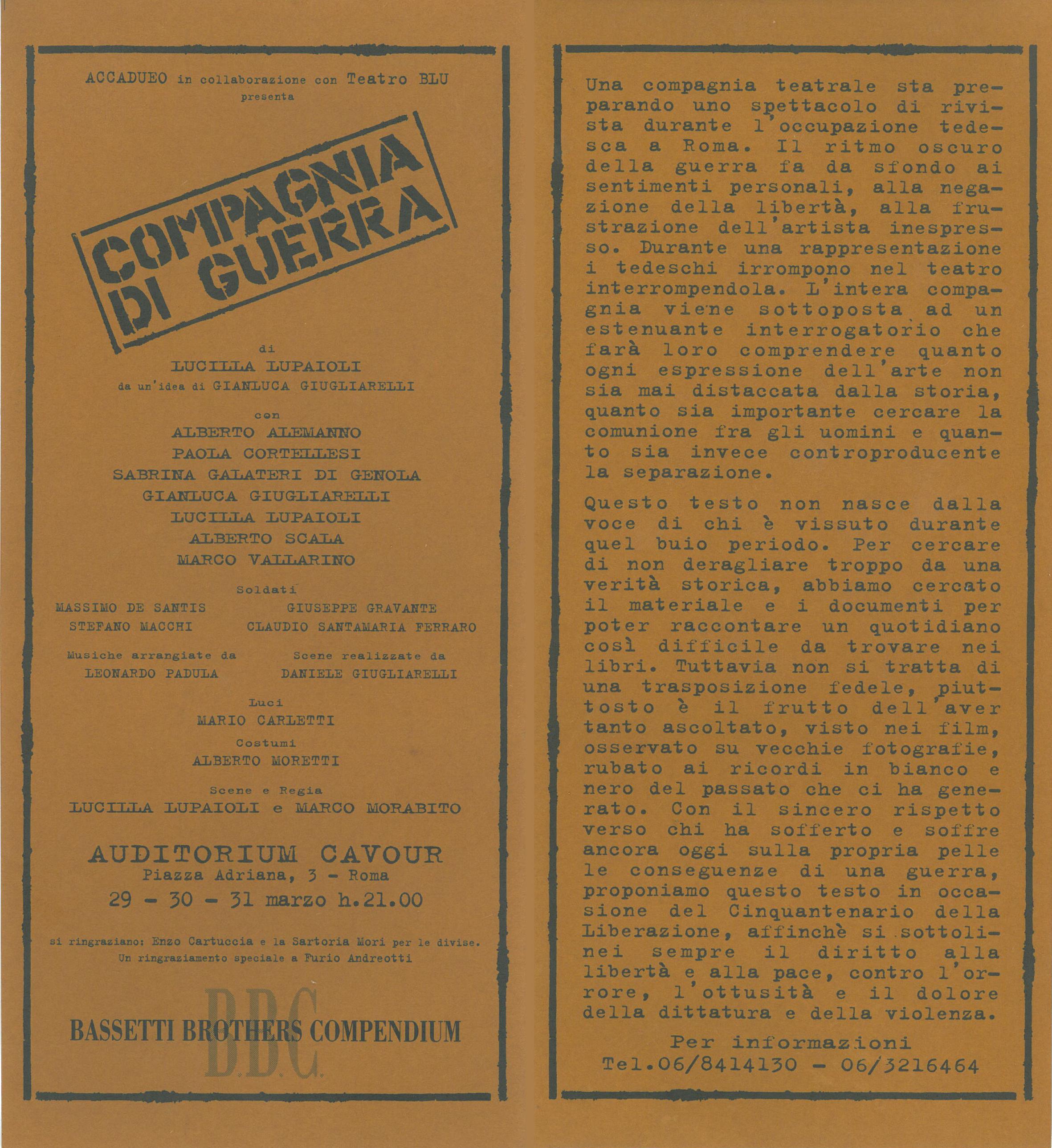 programma di sala di Compagnia di guerra, regia di Lucilla Lupaioli e Marco Morabito