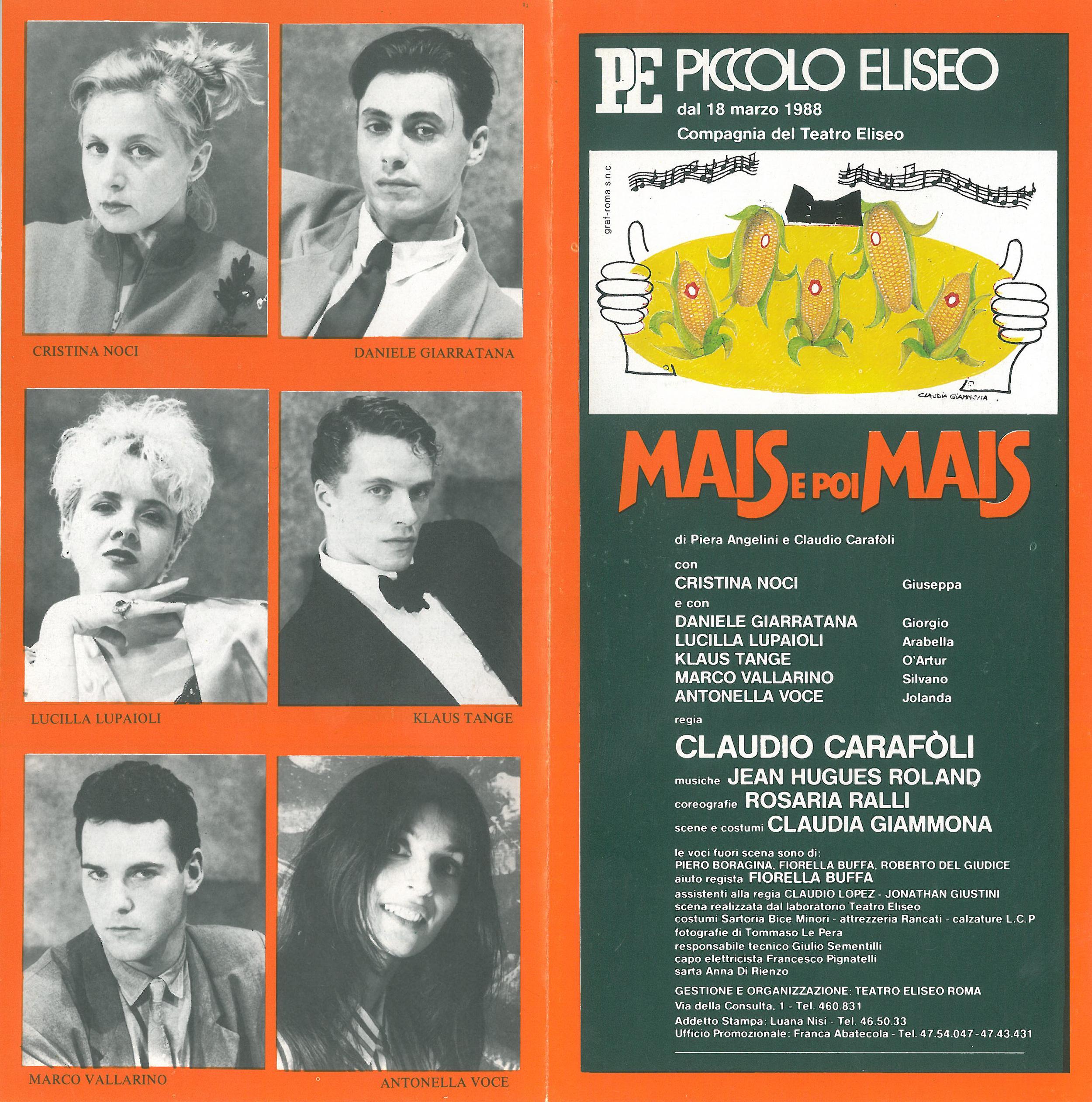 "programma di sala di ""MAIS e poi MAIS"" - regia di Claudio Carafoli - 1988"