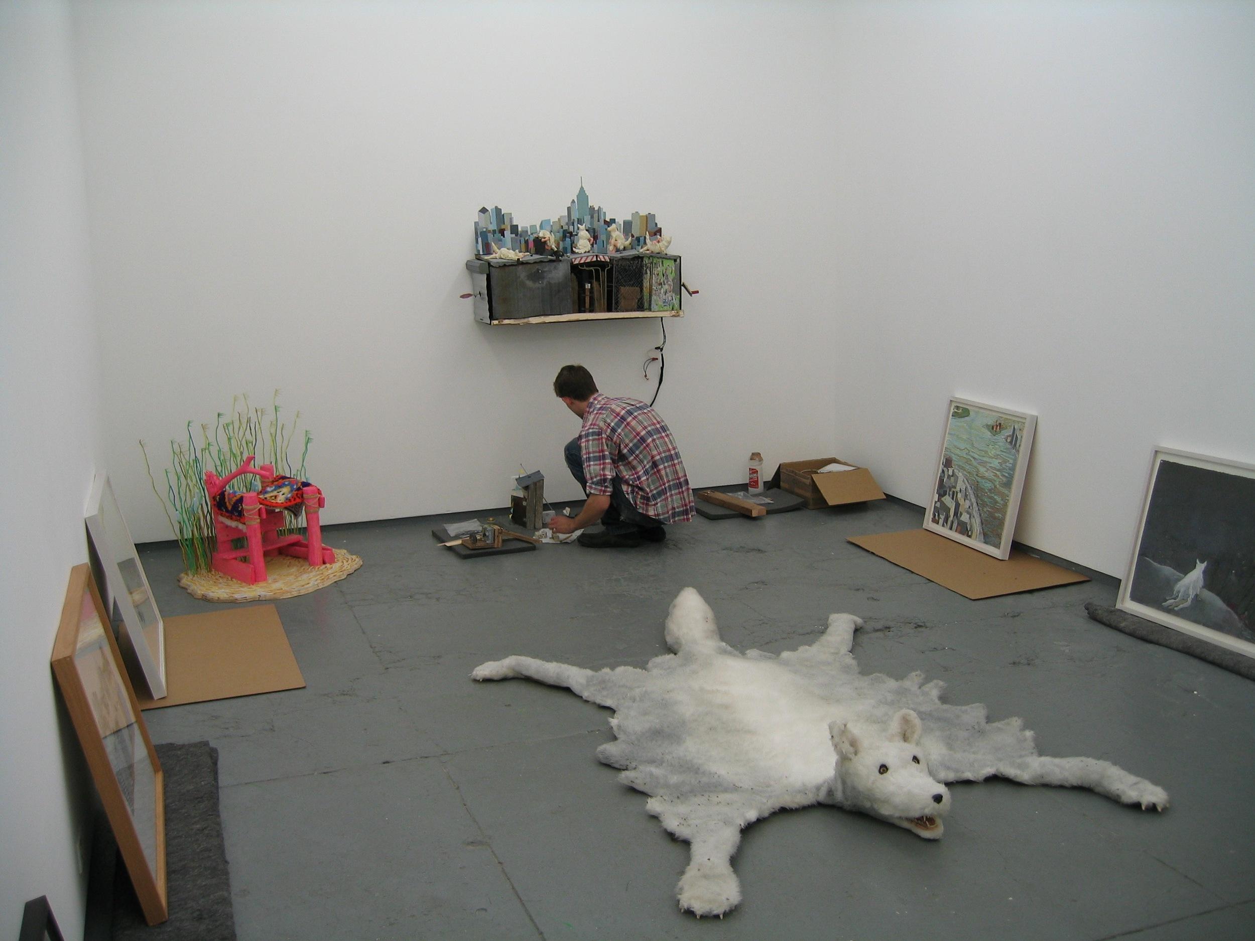 Installing work at Rare, June 2004