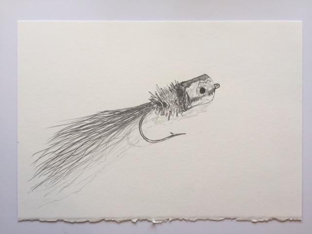 "Bob's Banger, pencil on paper, 7"" x 10"""