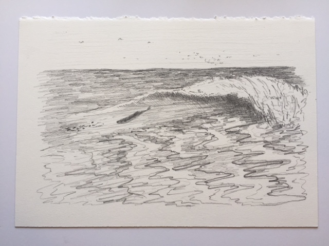 "Shore Break Bass and Bait, pencil on paper, 7"" x 10"""