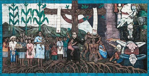 A mural depicting Salvadoran Archbishop Oscar Romero is seen in 2005 outside the San Salvador hospital where he was killed while celebrating Mass, March 24, 1980. CNS photo