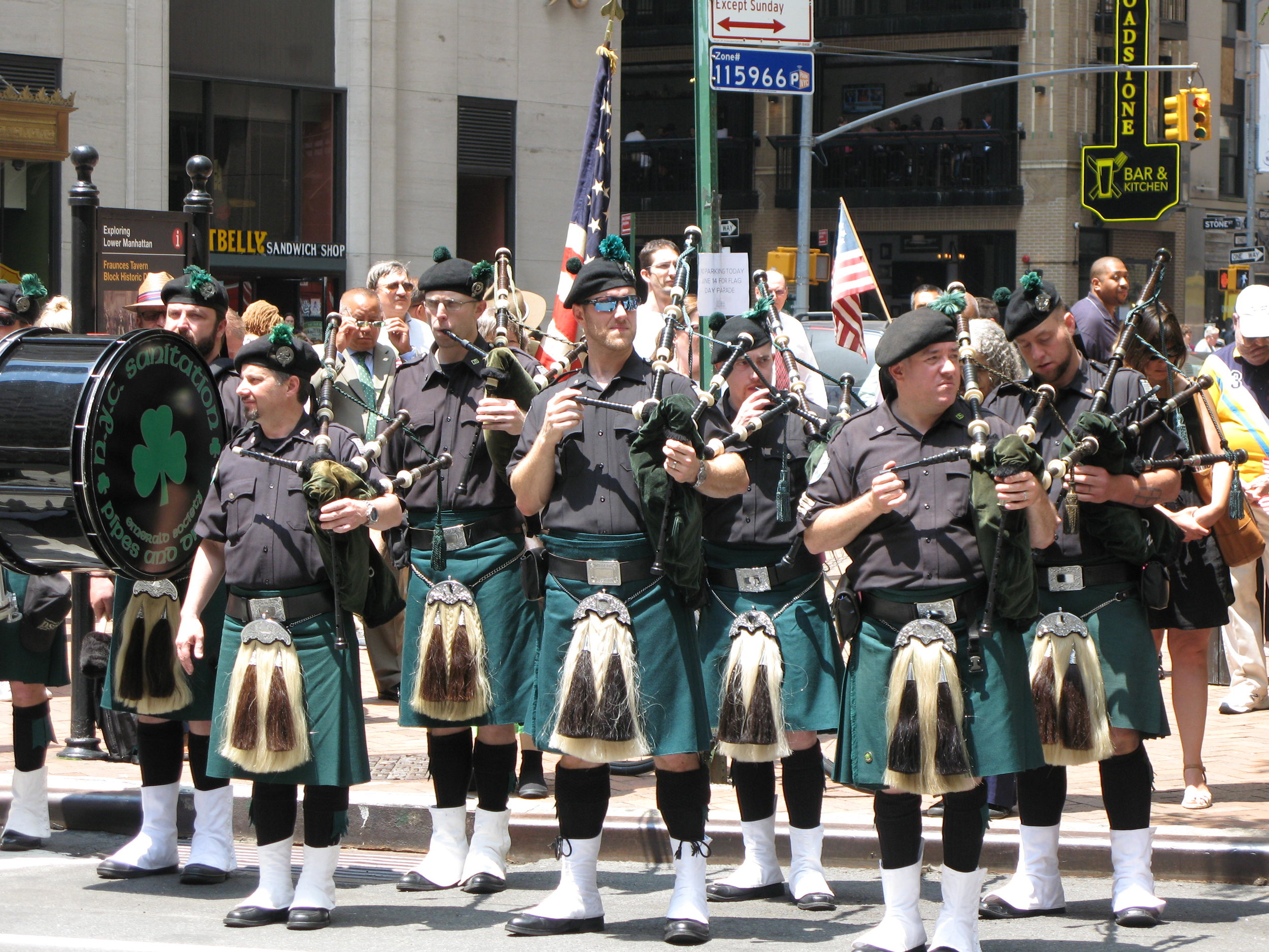 Flag Day 2017 NYC Dept of Sanitation Pipes & Drums of the Emerald Society.JPG