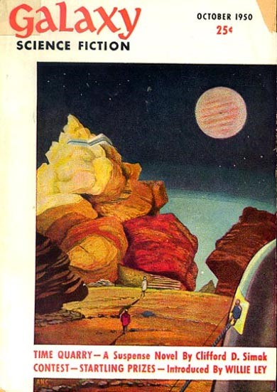Cover art by David K. Stone. Galaxy Science Fiction, v. 1, no. 1, October 1950. The FictionMags Index.