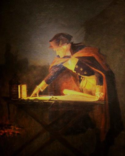 Washington Studying the Plans of Battle (Night Scene).  John Ward Dunsmore (1856-1945) . Collection of fraunces tavern museum