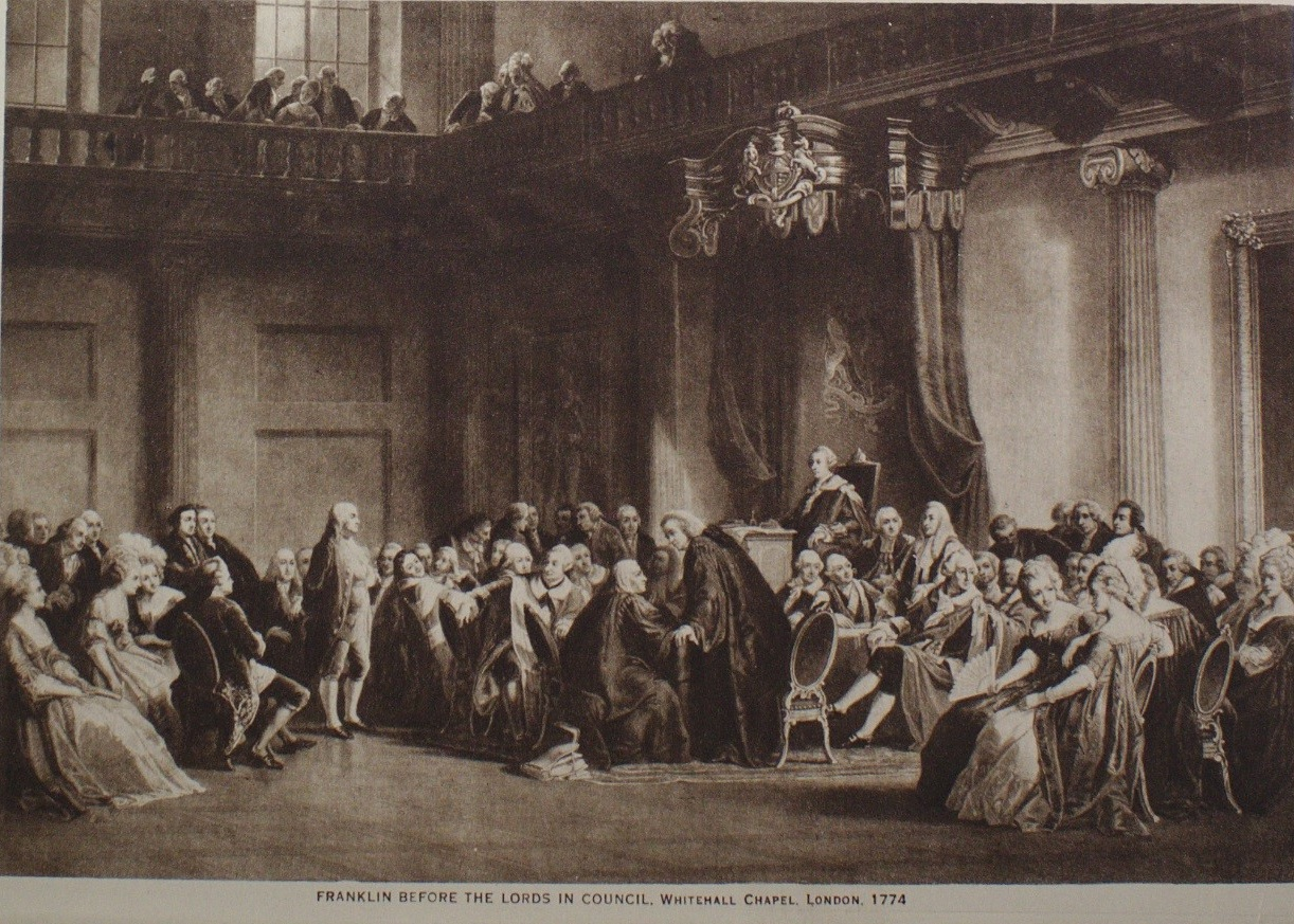 """Unknown artist, from an engraving by Robert Whitechurch after Christian Schuessele.  Franklin before the Lords in Council, Whitehall Chapel, London, 1774 From """"The Mentor: Benjamin Franklin,"""" Vol. 6, No. 7, Serial No. 155, May 15, 1918  Photogravure, 6 5/8 x 9 3/8 in. Fraunces Tavern Museum, TR2019.01.044a. Gift of Kent D. and Tina K. Worley"""