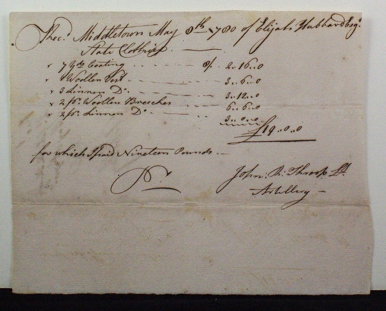 Elijah Hubbard Esq. for Lt. John Throop. May 8, 1780 6 1/16 x 7 6/8 in. Fraunces Tavern Museum, TR2019.01.079.  Gift of Kent D. and Tina K. Worley