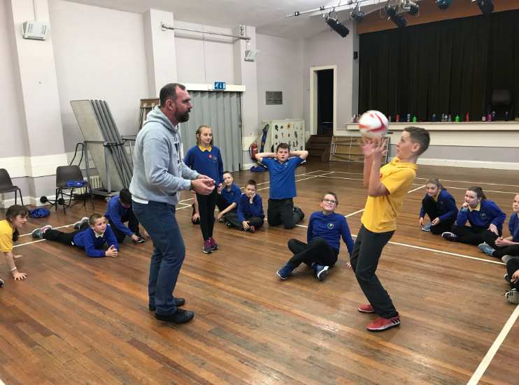 Former-Wales player and education worker, Steve Jenkins, delivers a fun fitness session.