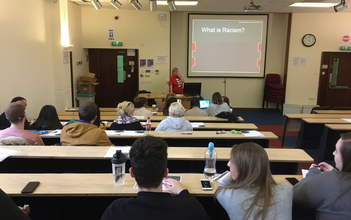 Education Worker Kris delivering a session for students in Swansea