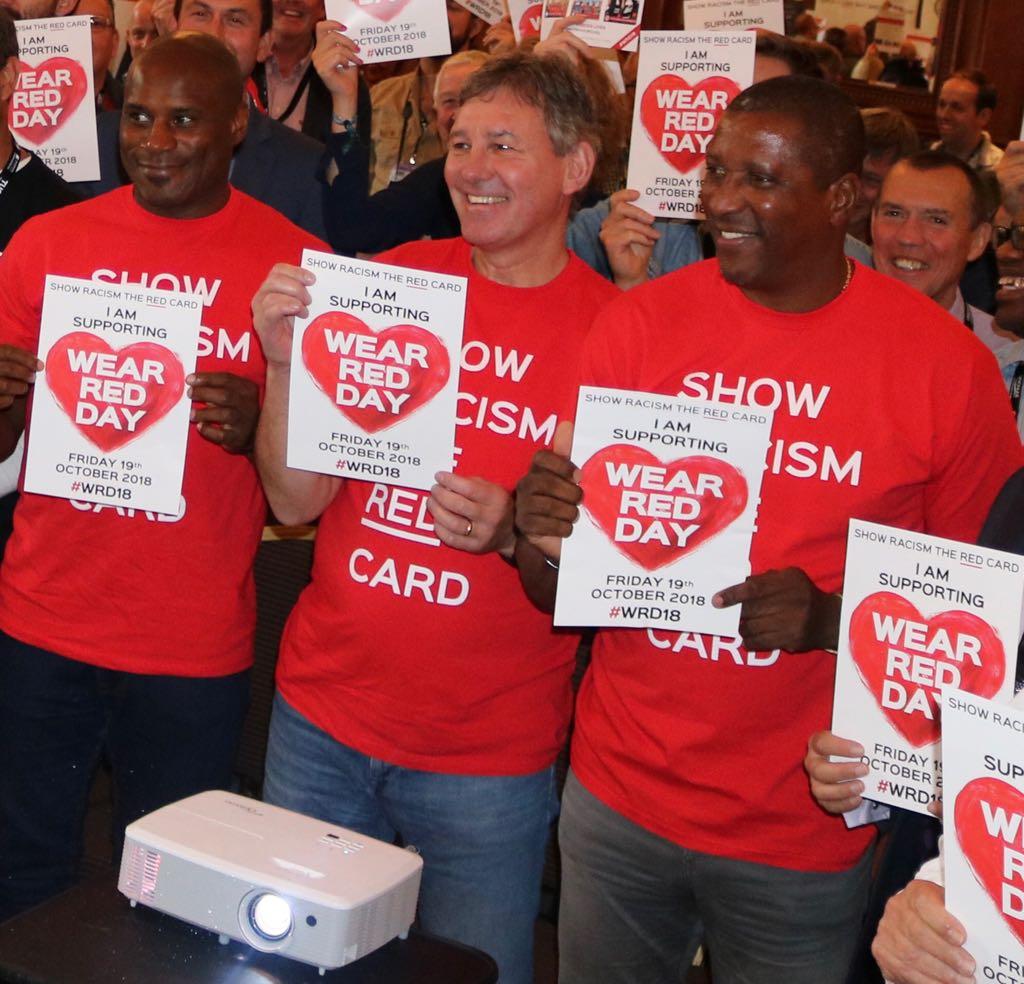 Viv Anderson, Bryan Robson and Frank Sinclair show their support for Show Racism the Red Card