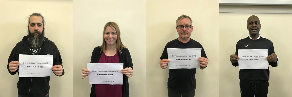 Show Racism the Red Card team members take part in the #WeRemember campaign