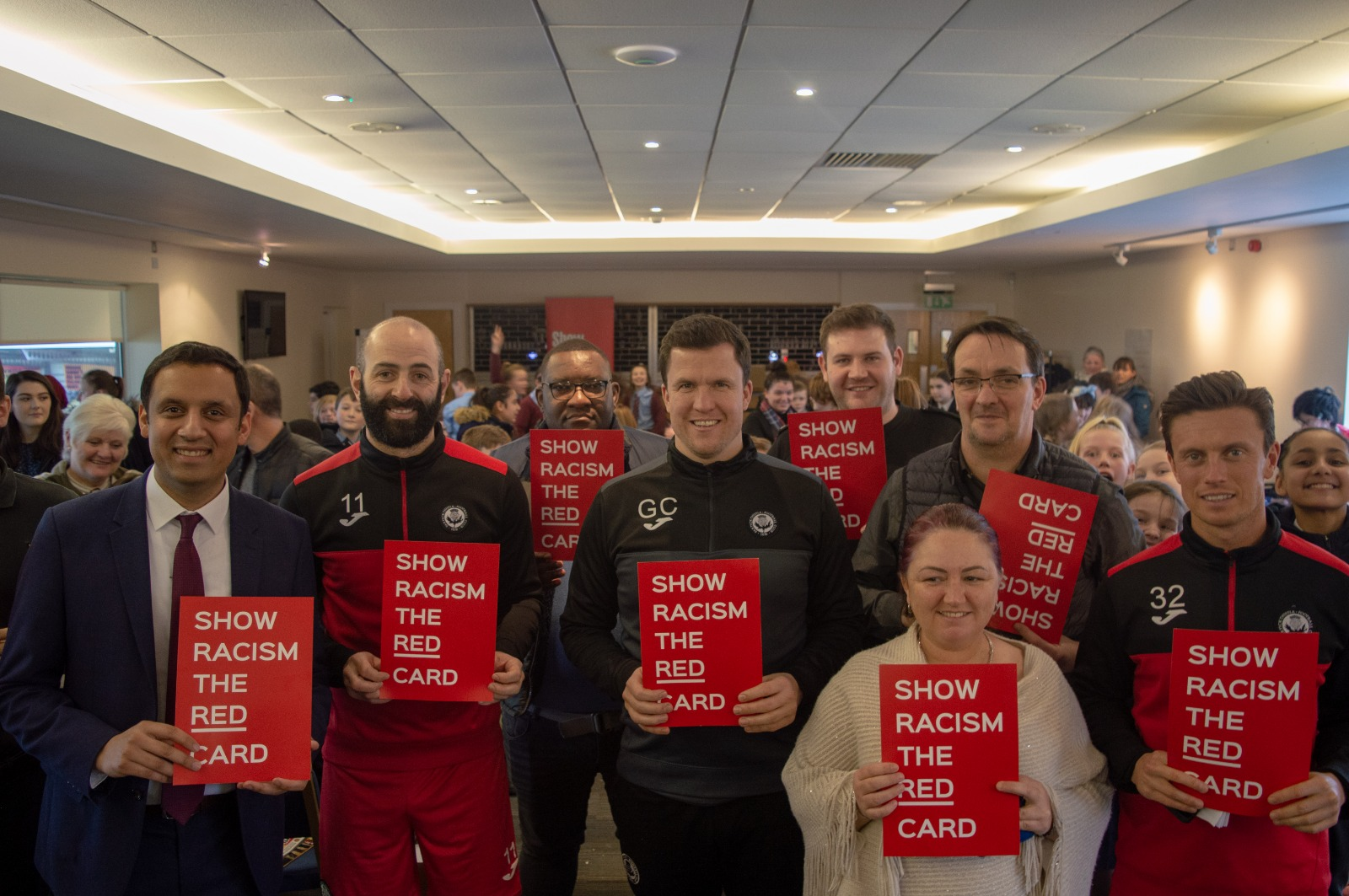 Partick Thistle Show Racism the Red Card Gary Caldwell Gary Harkins Anas Sarwar Gerry Britton Jo Cardle