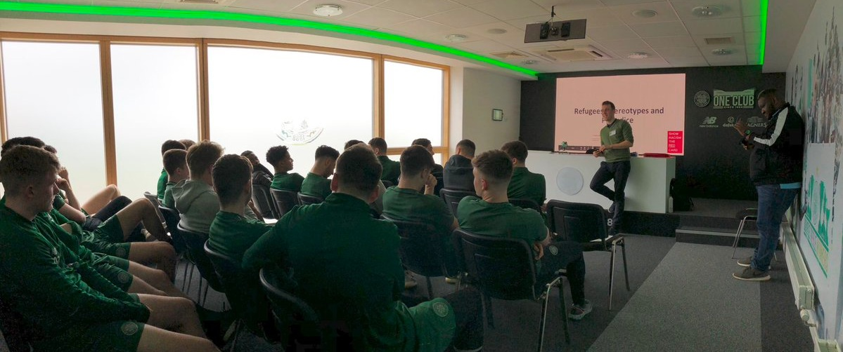 Celtic reserves academy show racism the red card.jpg