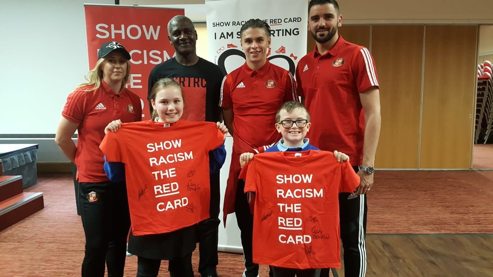 SAFC players and the prize winners at the event
