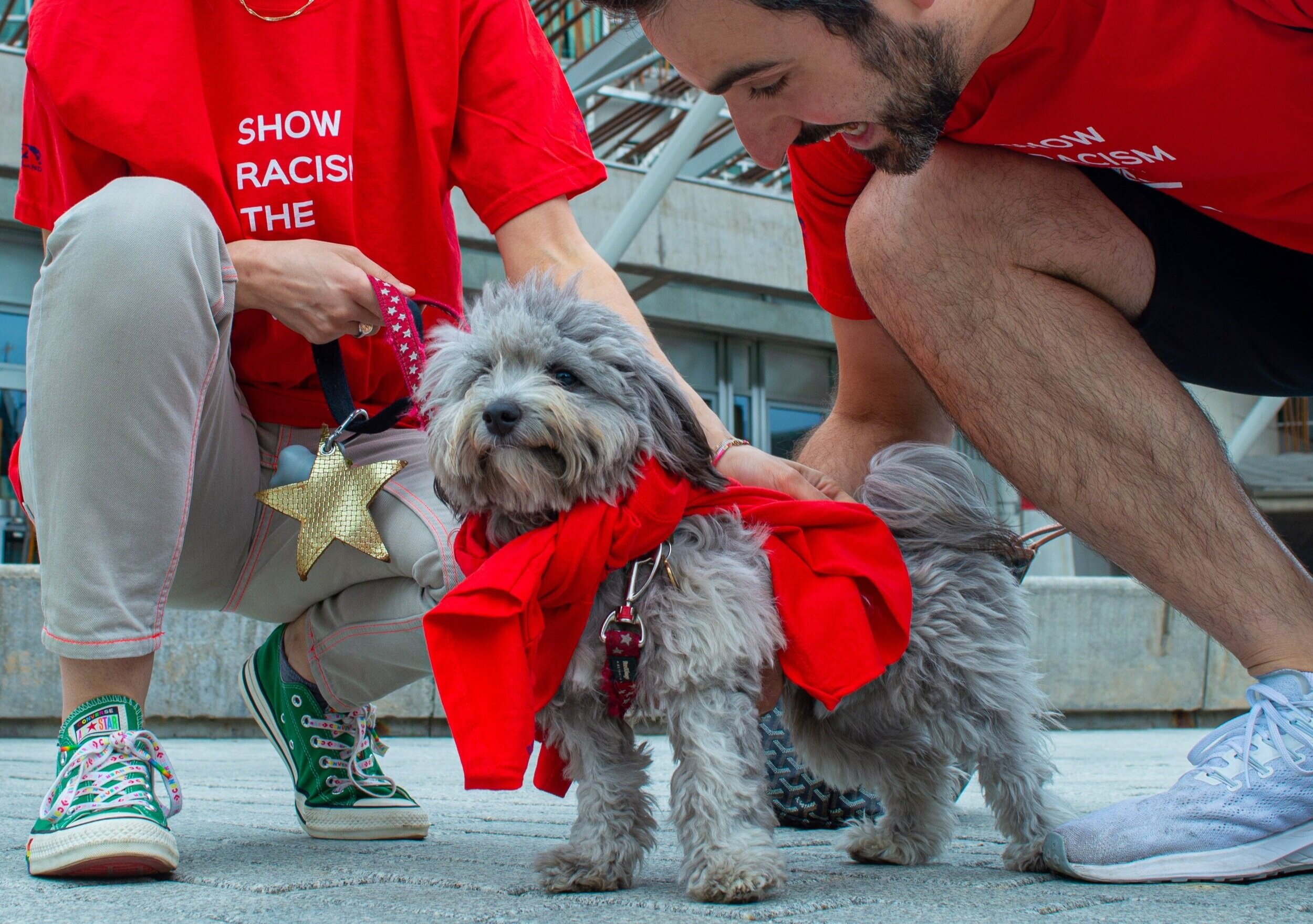 'Pablo' supports Wear Red Day outside the Scottish Parliament, Edinburgh