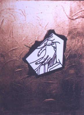 """""""De la nature du modèle d'Art"""" , fragment, 1983. Peinture acrylique sur toile, reproduction de tableaux, collages, dessins à l'encre de chine, 27 X 35 cm chaque."""
