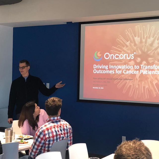Last Friday we all enjoyed delicious Australian pies from KO while hearing our CEO, Ted Ashburn, give a monthly corporate update.  So great to come together as a team regularly and discuss the progress we continue to make on behalf of cancer patients. #freelunchfridays #goingviraltobeatcancer #oncorus